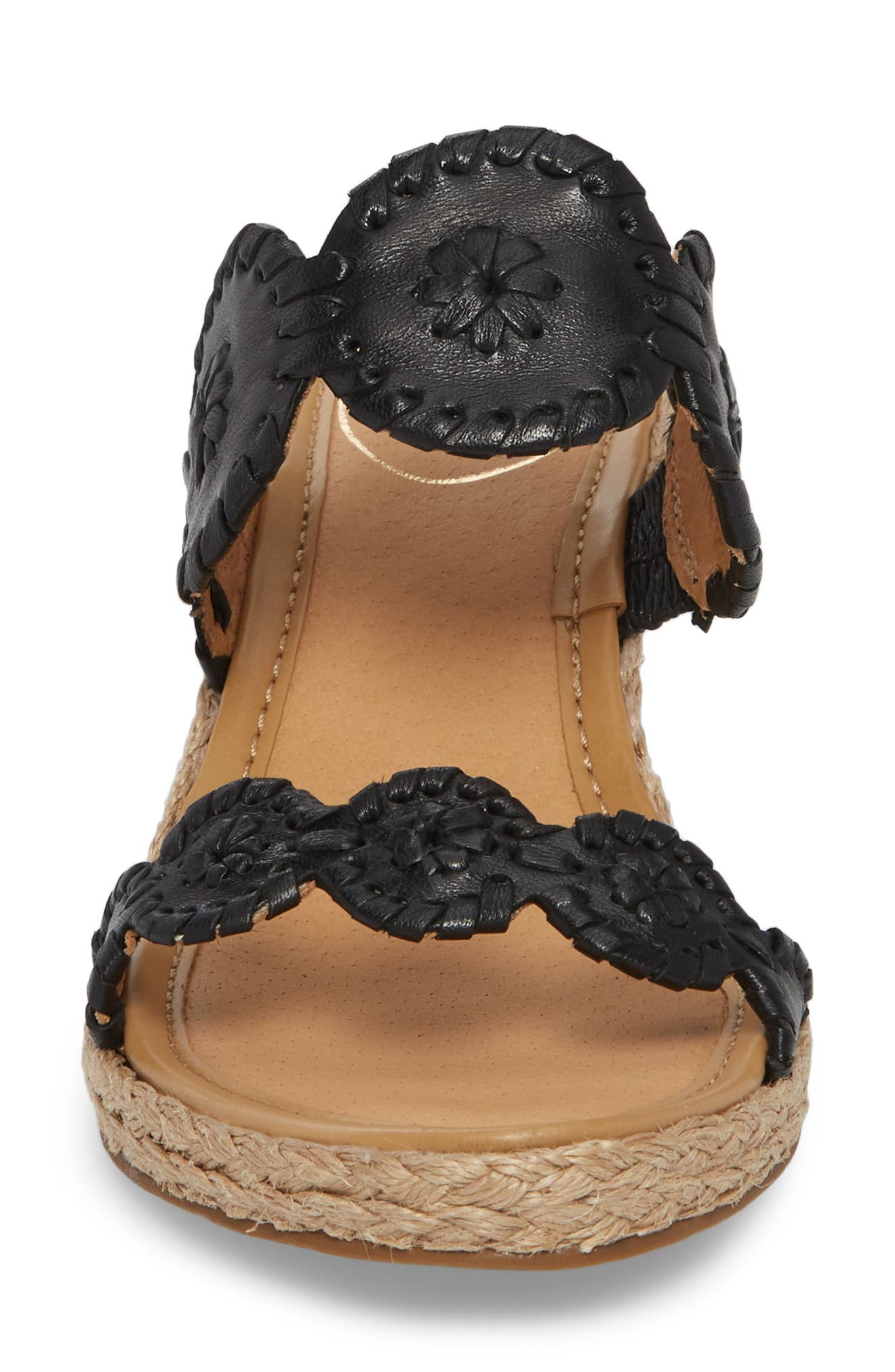 'Shelby' Whipstitched Wedge Sandal,                             Alternate thumbnail 4, color,                             Black Leather