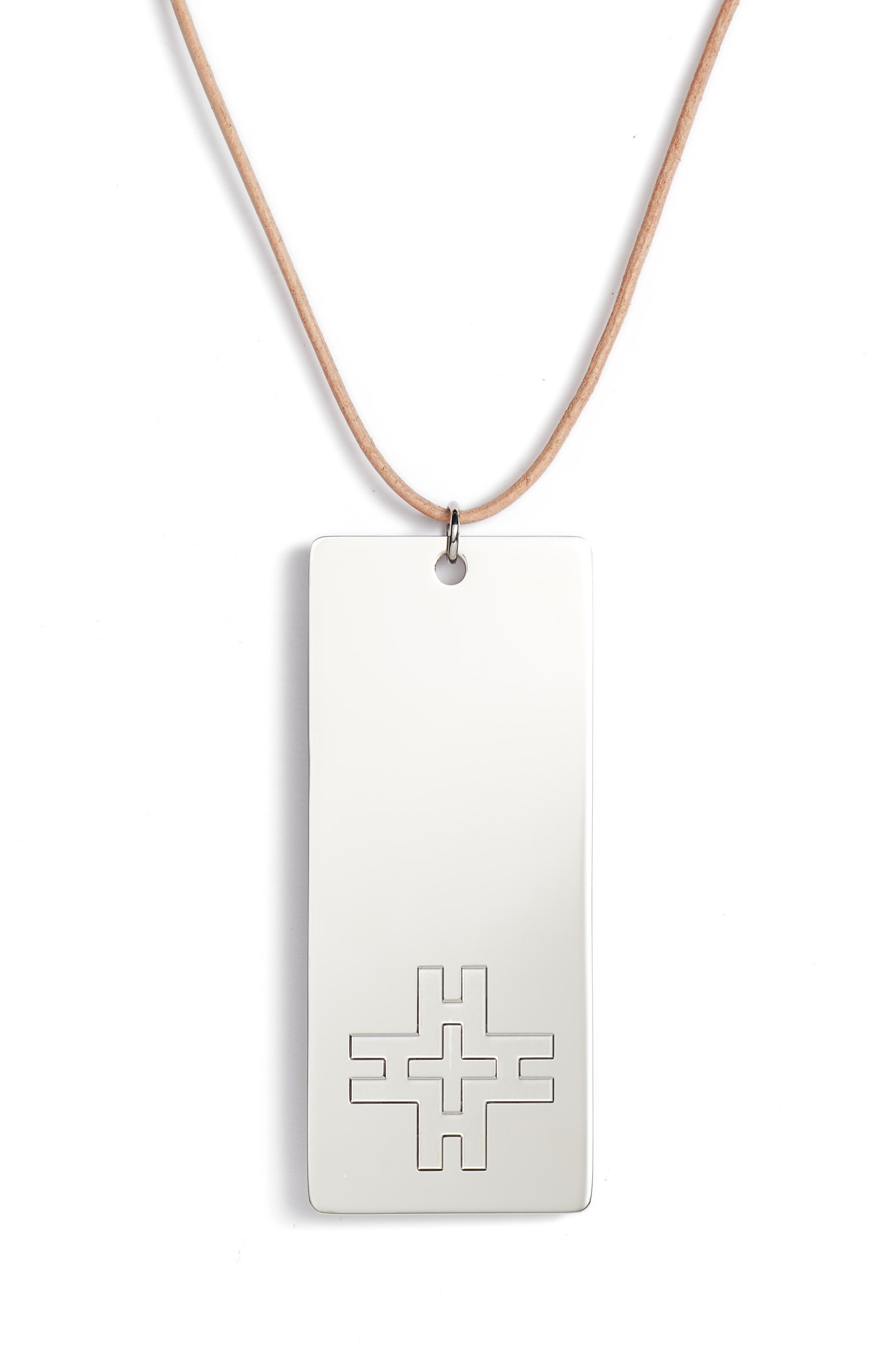 Hicks Dog Tag Necklace,                             Alternate thumbnail 2, color,                             Tory Silver