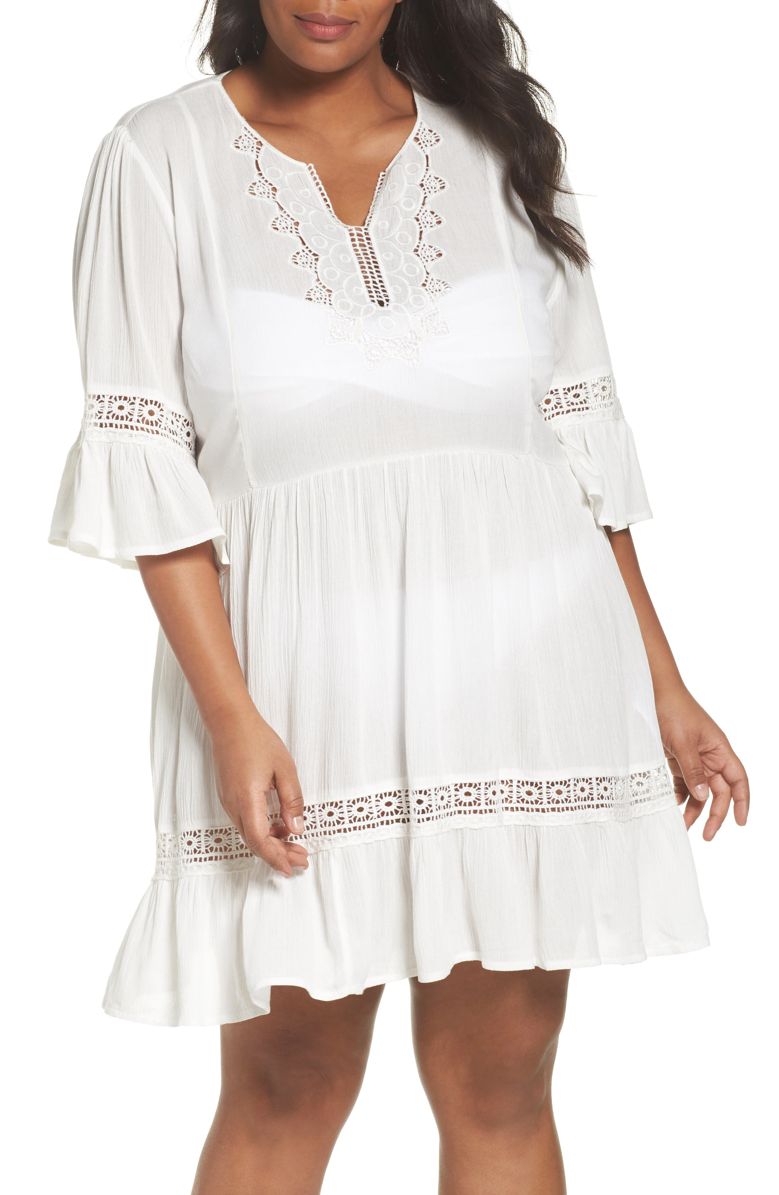 Embroidered Bell Sleeve Fit & Flare Dress,                         Main,                         color, Ivory