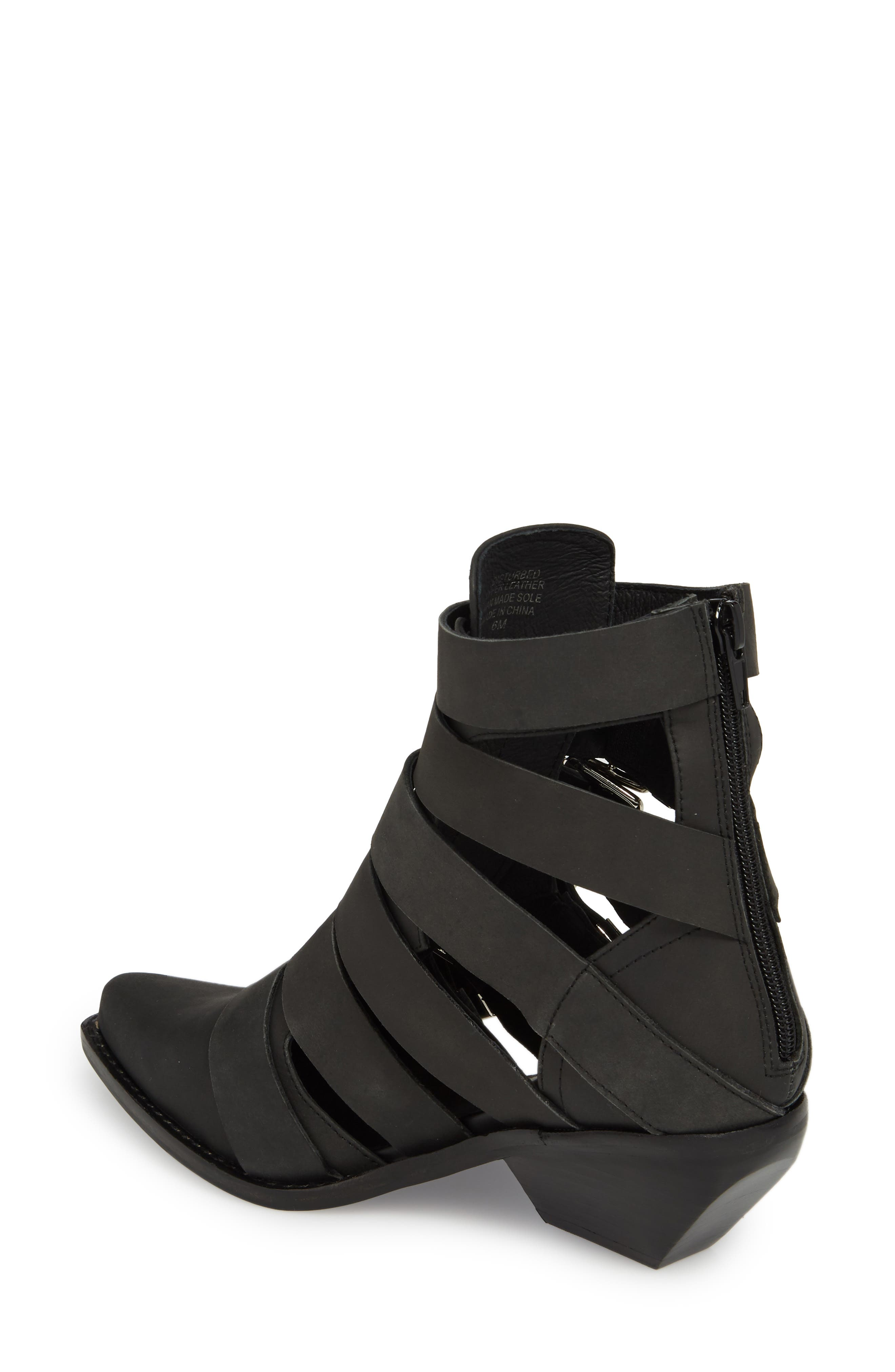 Disturbed Moto Buckle Bootie,                             Alternate thumbnail 2, color,                             Black Washed