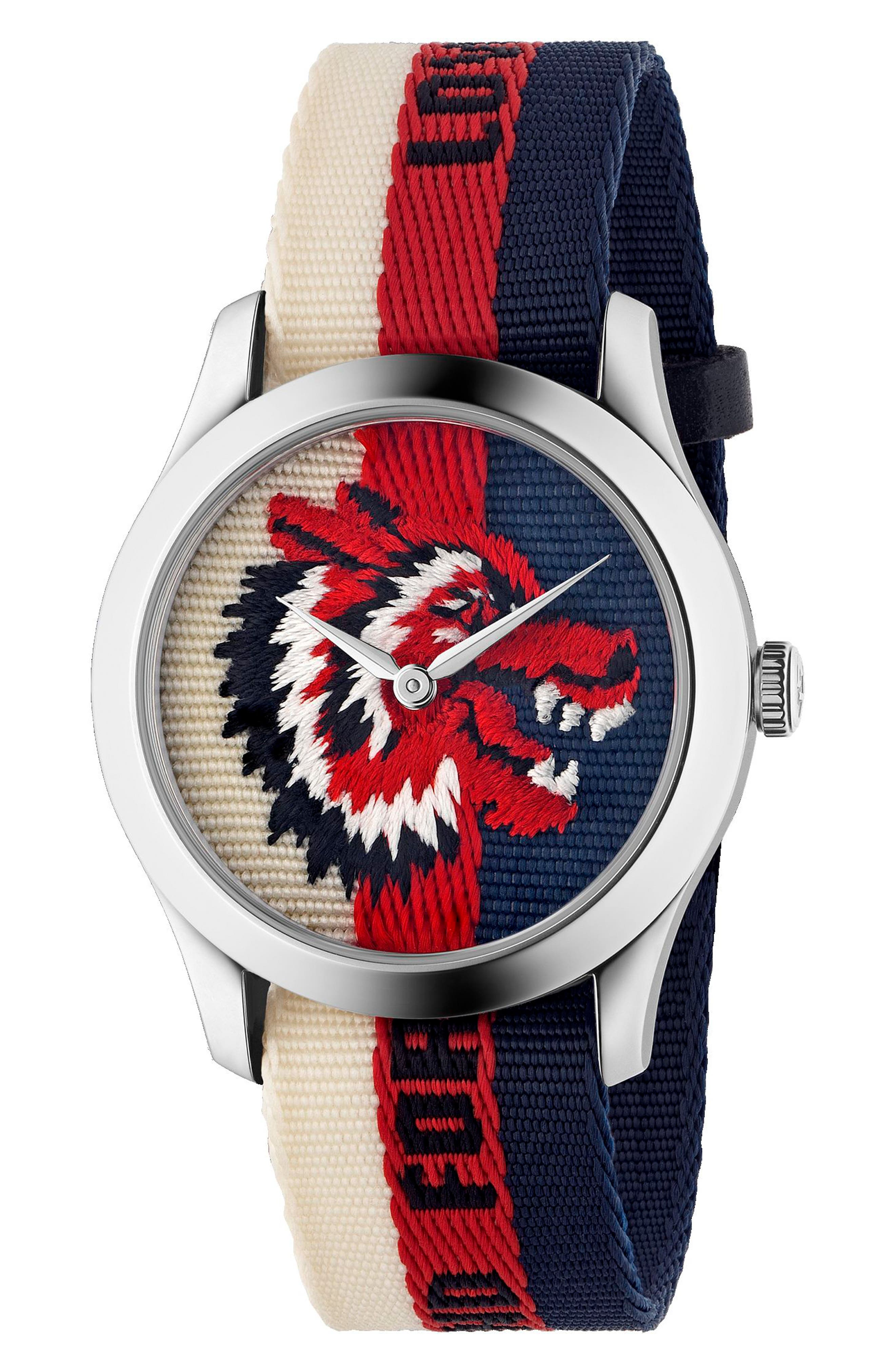 G-Timeless Nylon Strap Watch, 38mm,                         Main,                         color, Cream/ Red/ Blue/ Silver