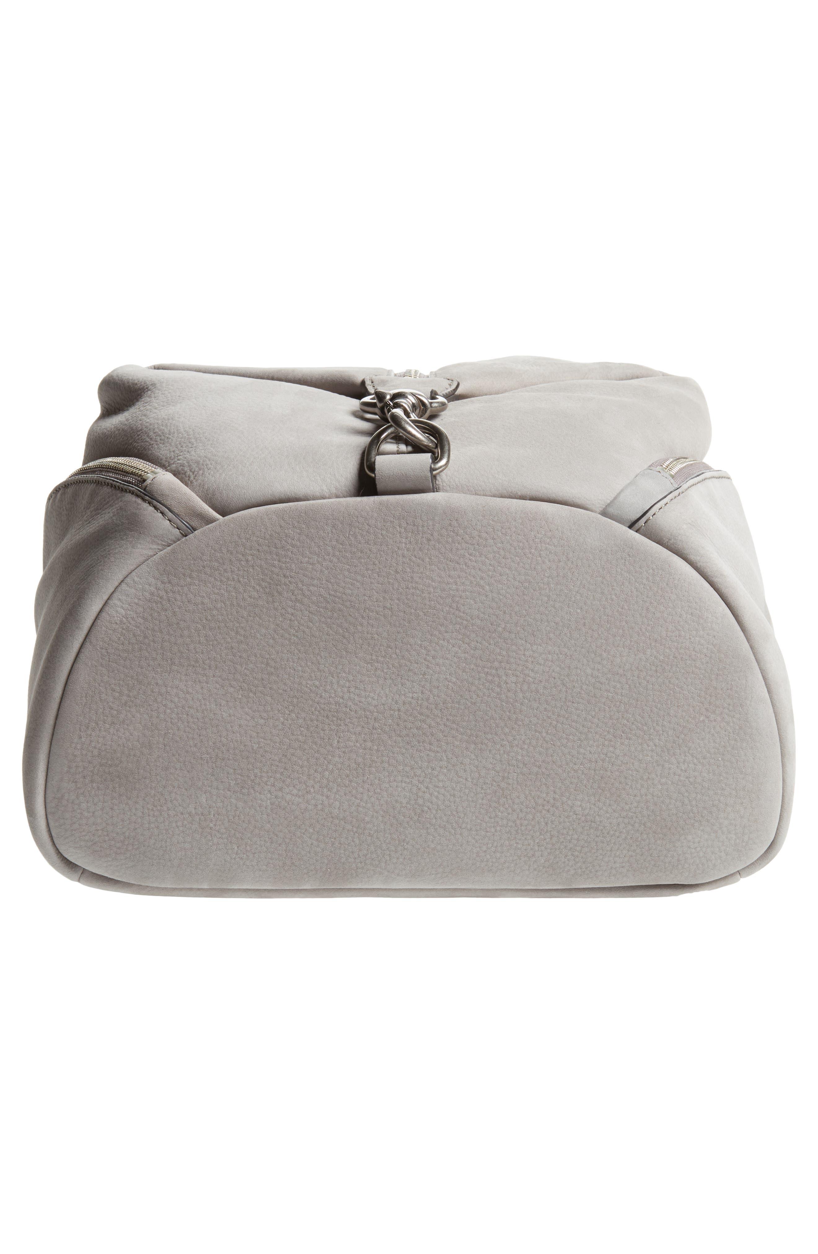 Julian Nubuck Leather Backpack,                             Alternate thumbnail 6, color,                             Grey
