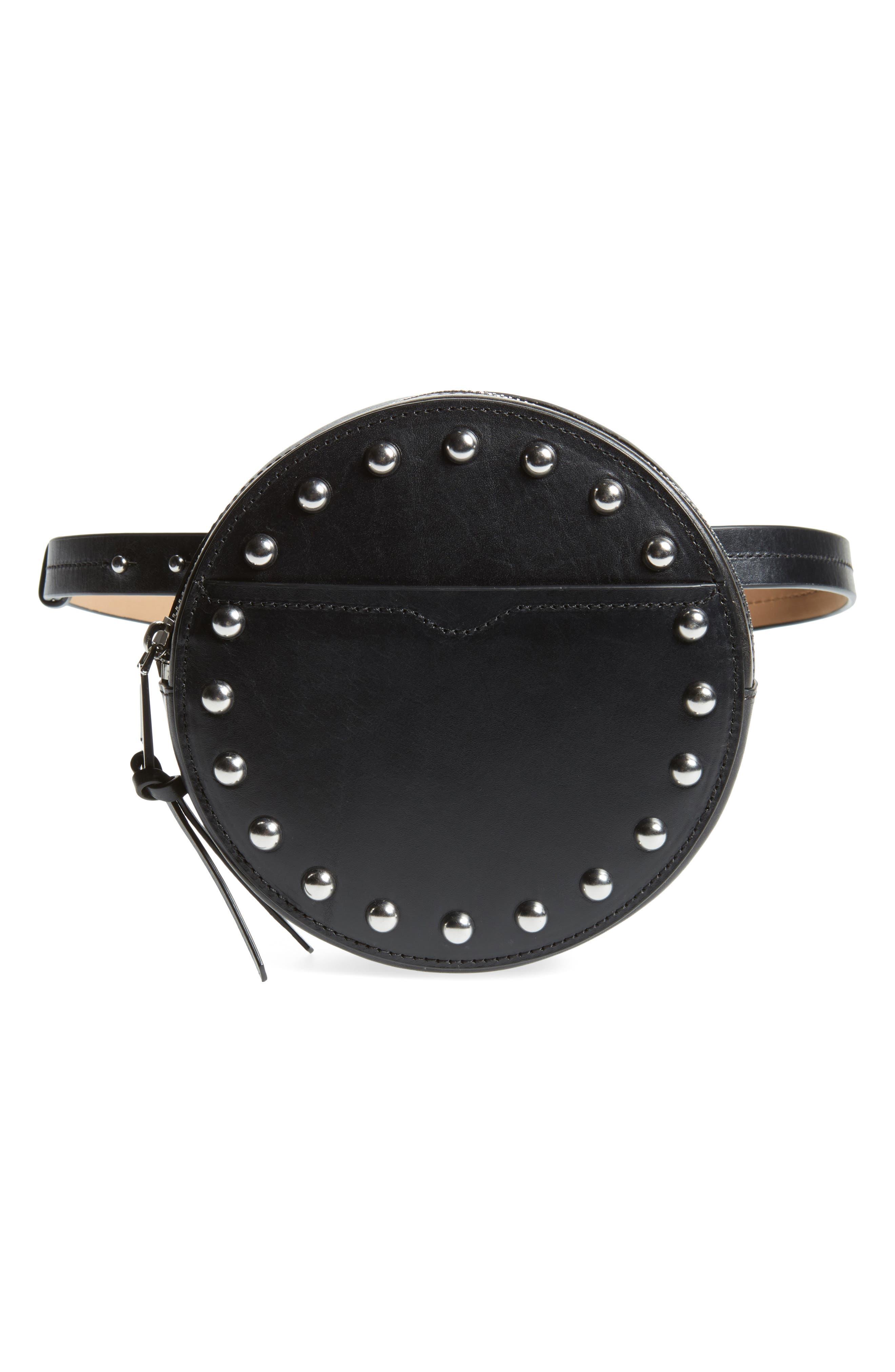 Studded Leather Belt Bag,                         Main,                         color, Black