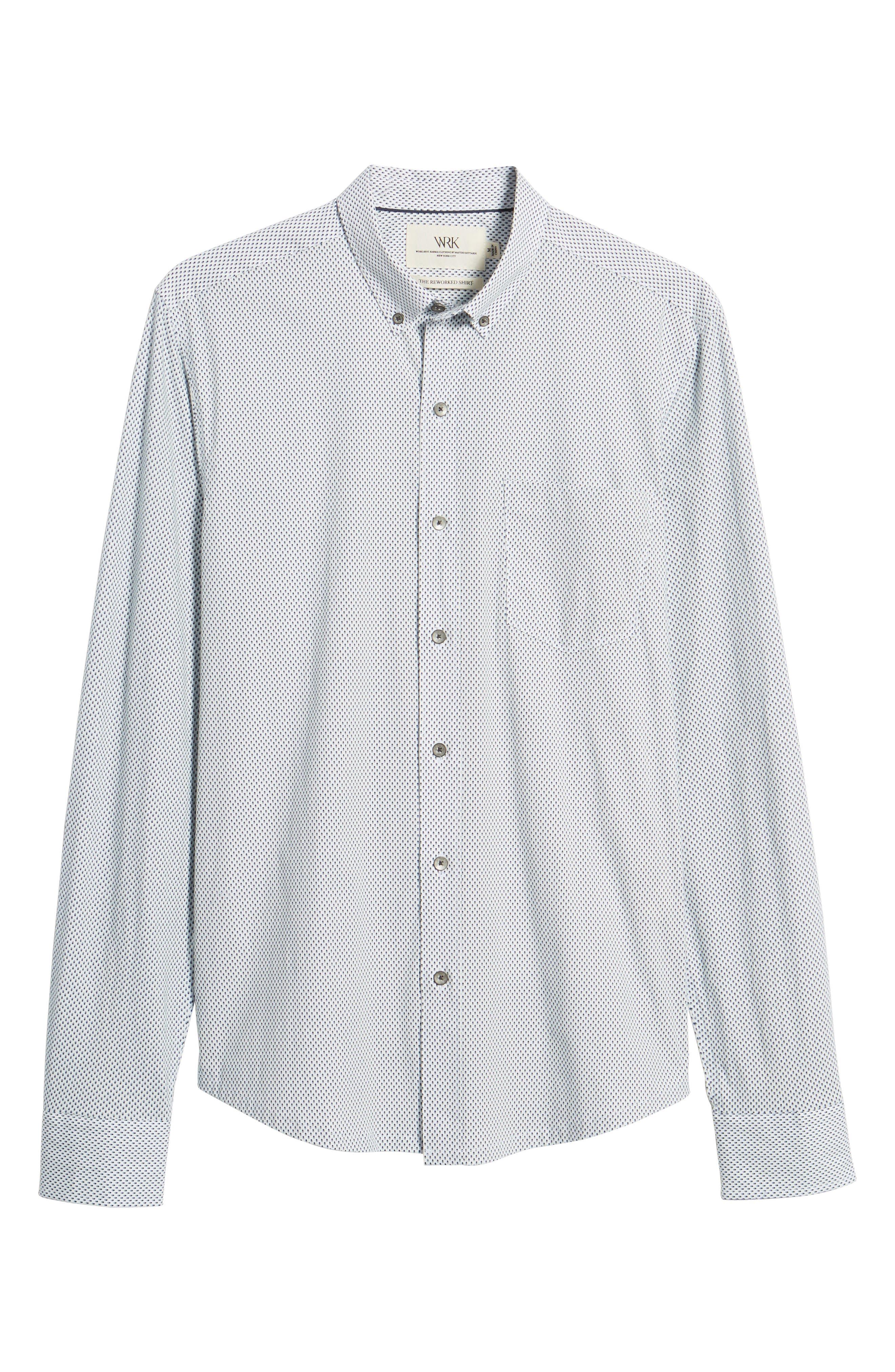 Reworked Slim Fit Diamond Print Sport Shirt,                             Alternate thumbnail 6, color,                             White/ Navy