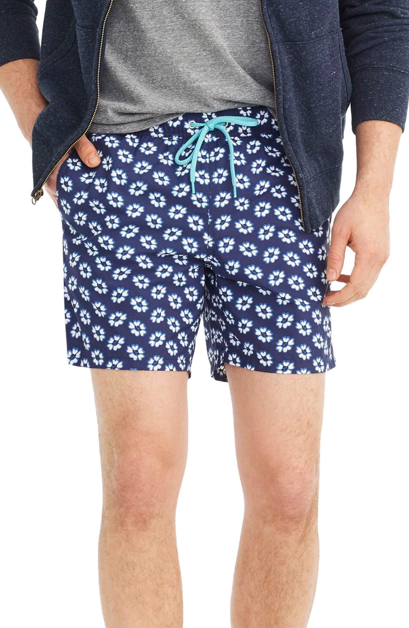 J.Crew Floral Print Swim Trunks,                         Main,                         color, Indigo Blue