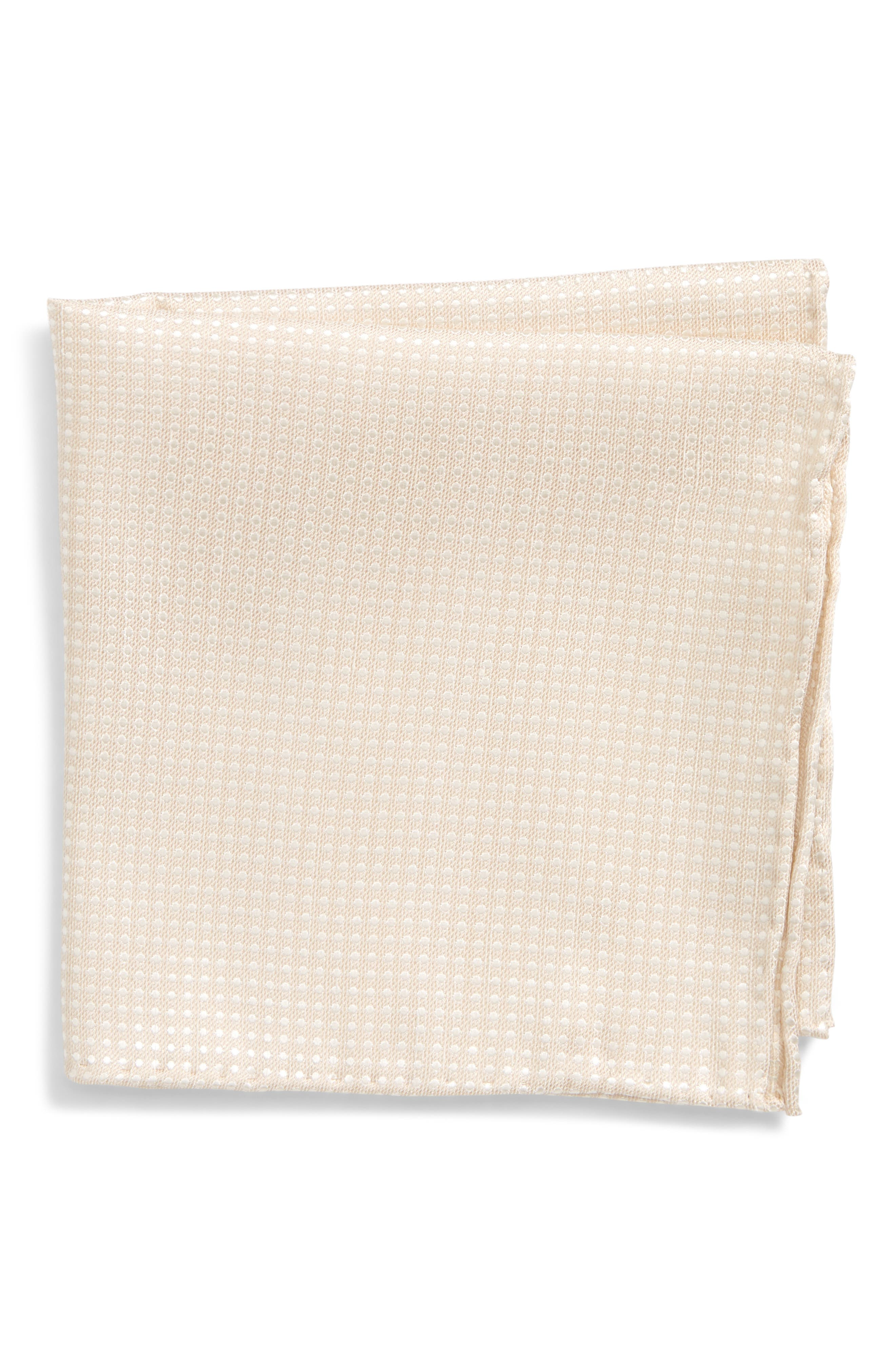 Dotten Spin Silk & Linen Pocket Square,                             Main thumbnail 1, color,                             Light Champagne