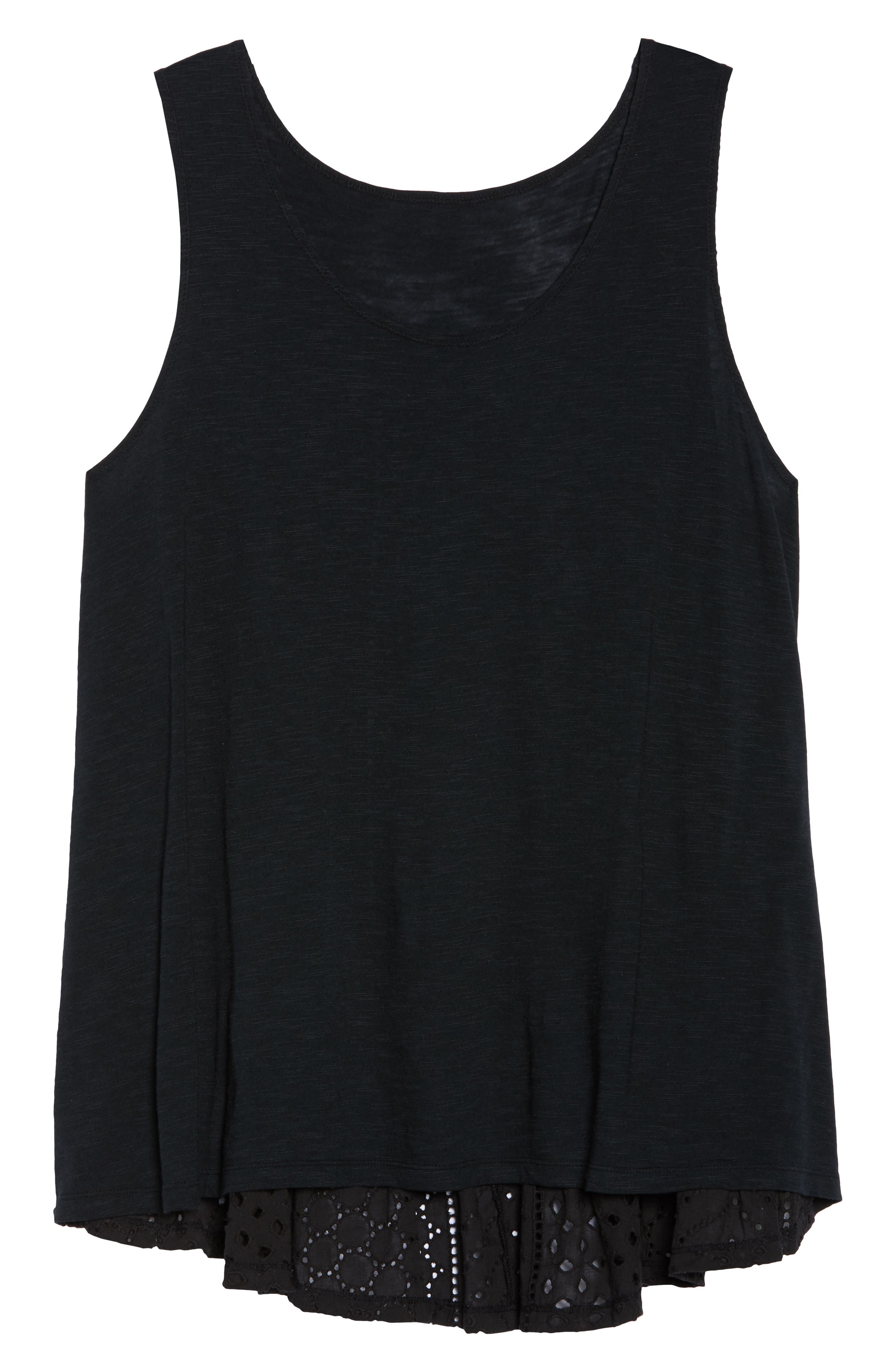 Eyelet Back Tank,                             Alternate thumbnail 7, color,                             Black