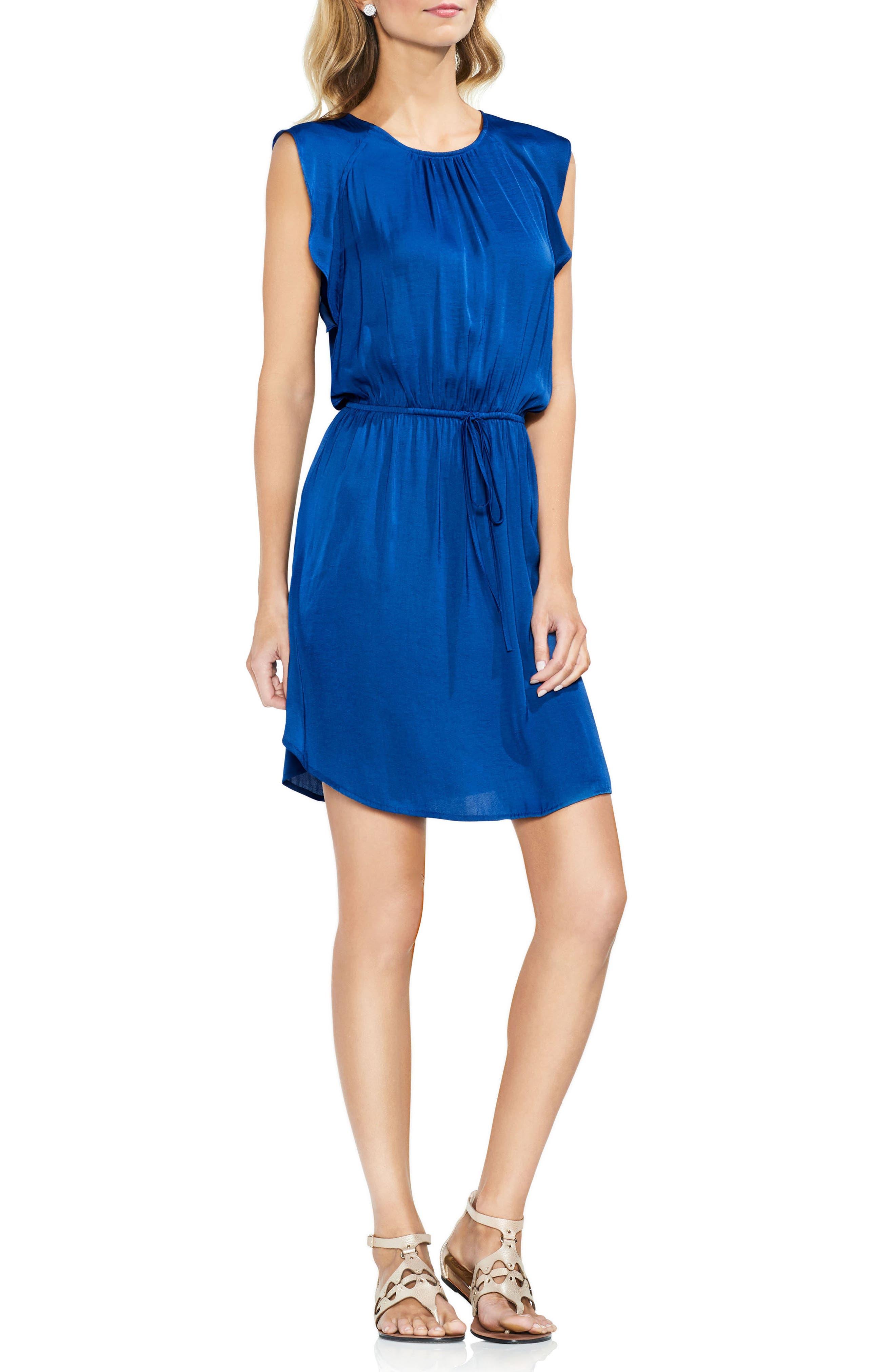 Tie Waist Rumple Mini Dress,                         Main,                         color, Amalfi