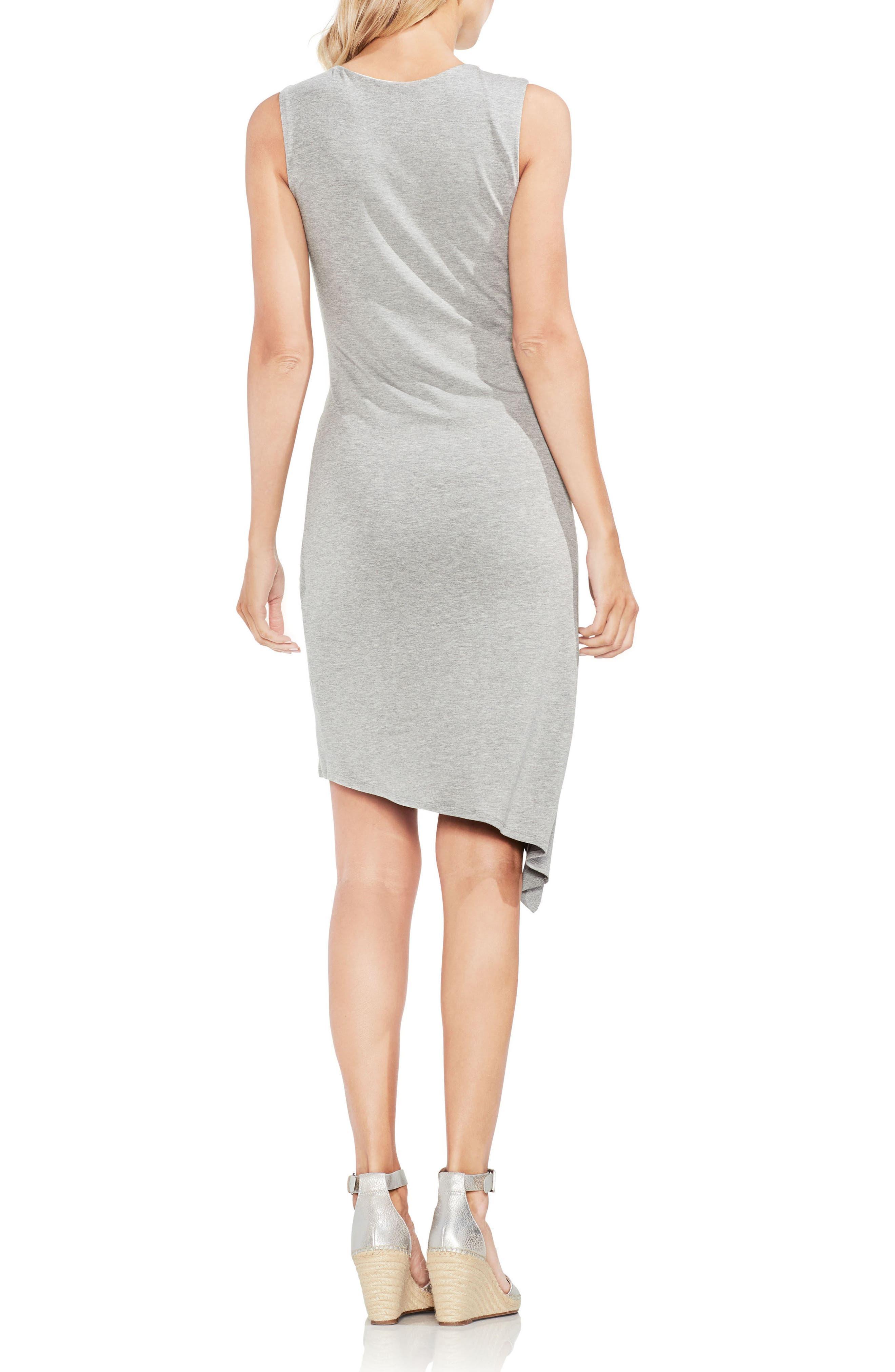 Twist Front Faux Wrap Dress,                             Alternate thumbnail 2, color,                             Light Heather Grey