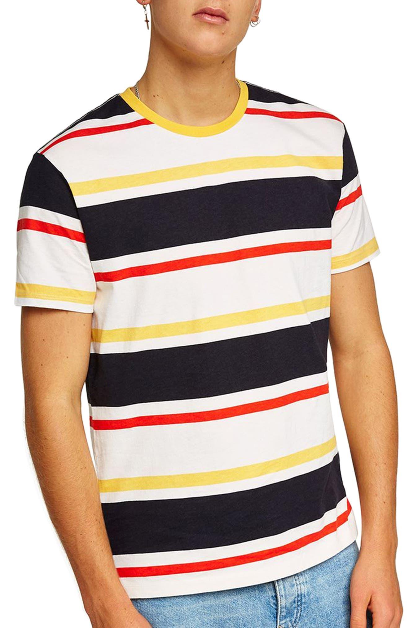 Slim Fit Stripe T-Shirt,                             Main thumbnail 1, color,                             Yellow Multi