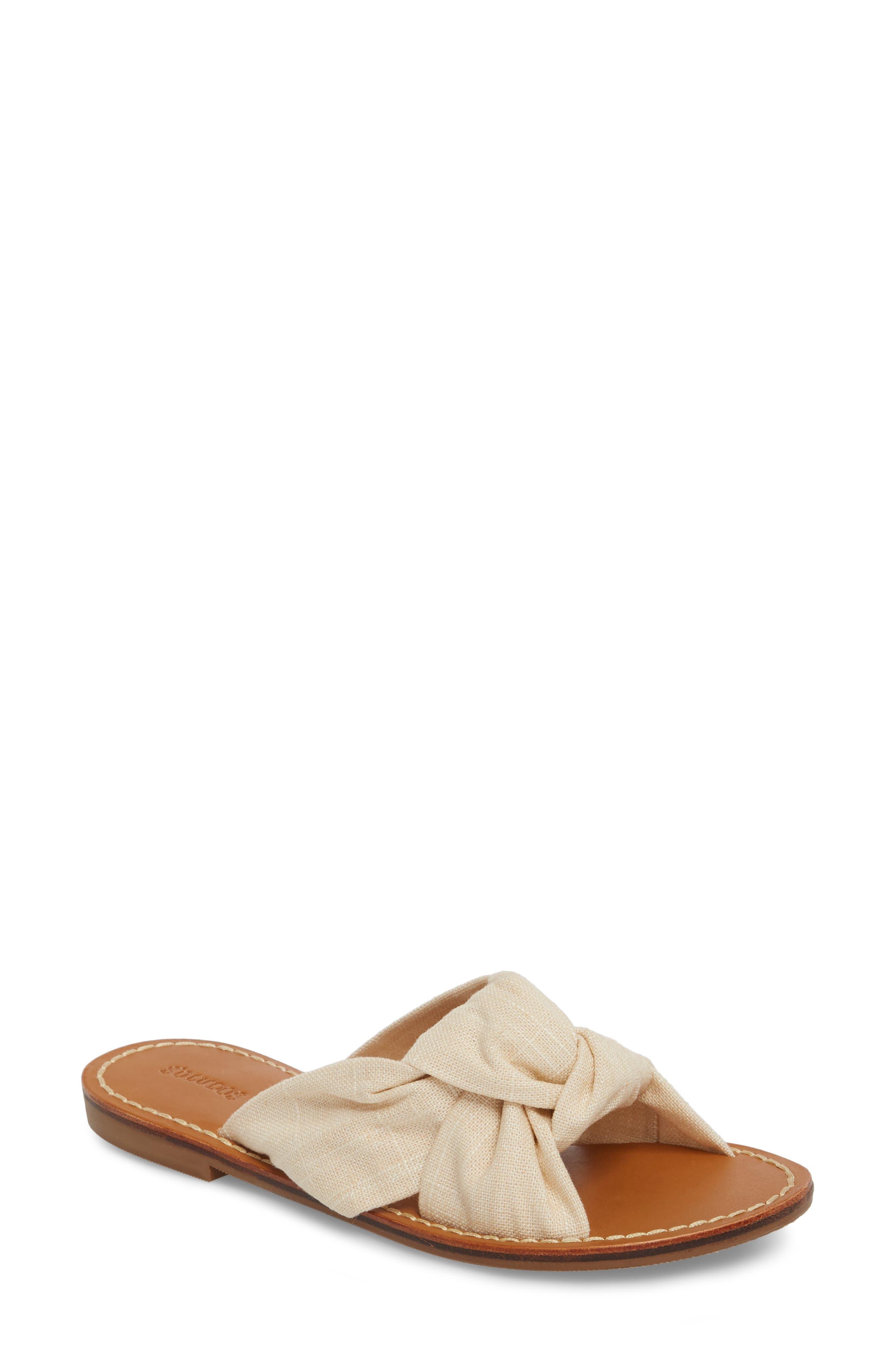 Knotted Slide Sandal,                         Main,                         color, Blush Fabric
