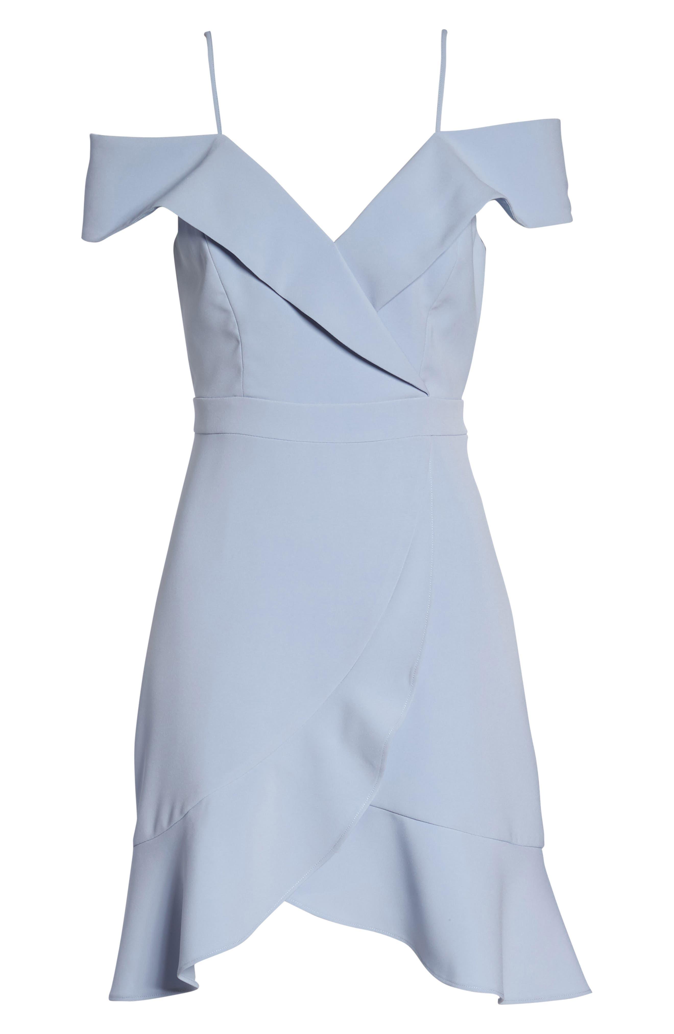 Cold Shoulder Ruffle Sheath Dress,                             Alternate thumbnail 7, color,                             Sky Blue