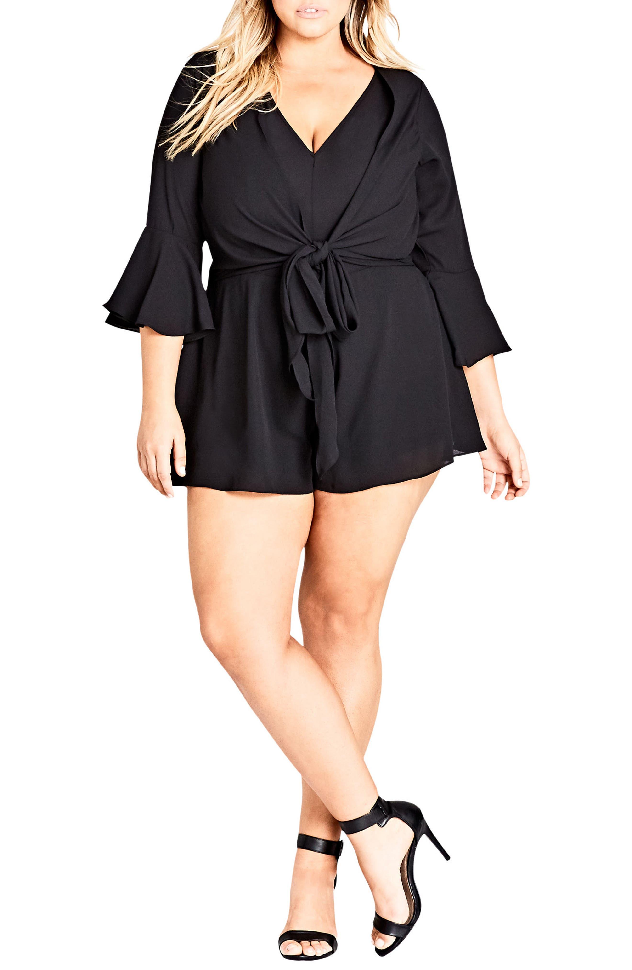 Lace Twist Romper,                         Main,                         color, Black