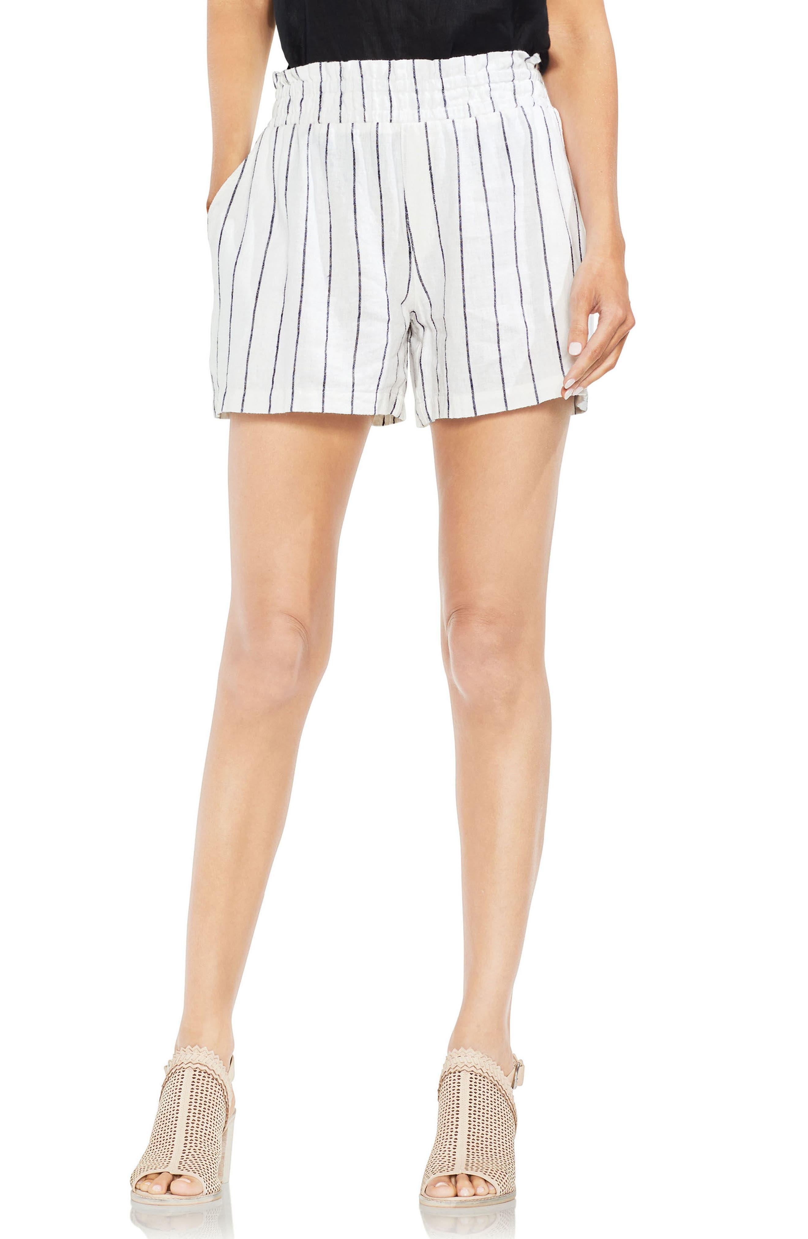 Linen Blend Stripe Shorts,                             Main thumbnail 1, color,                             Ultra White