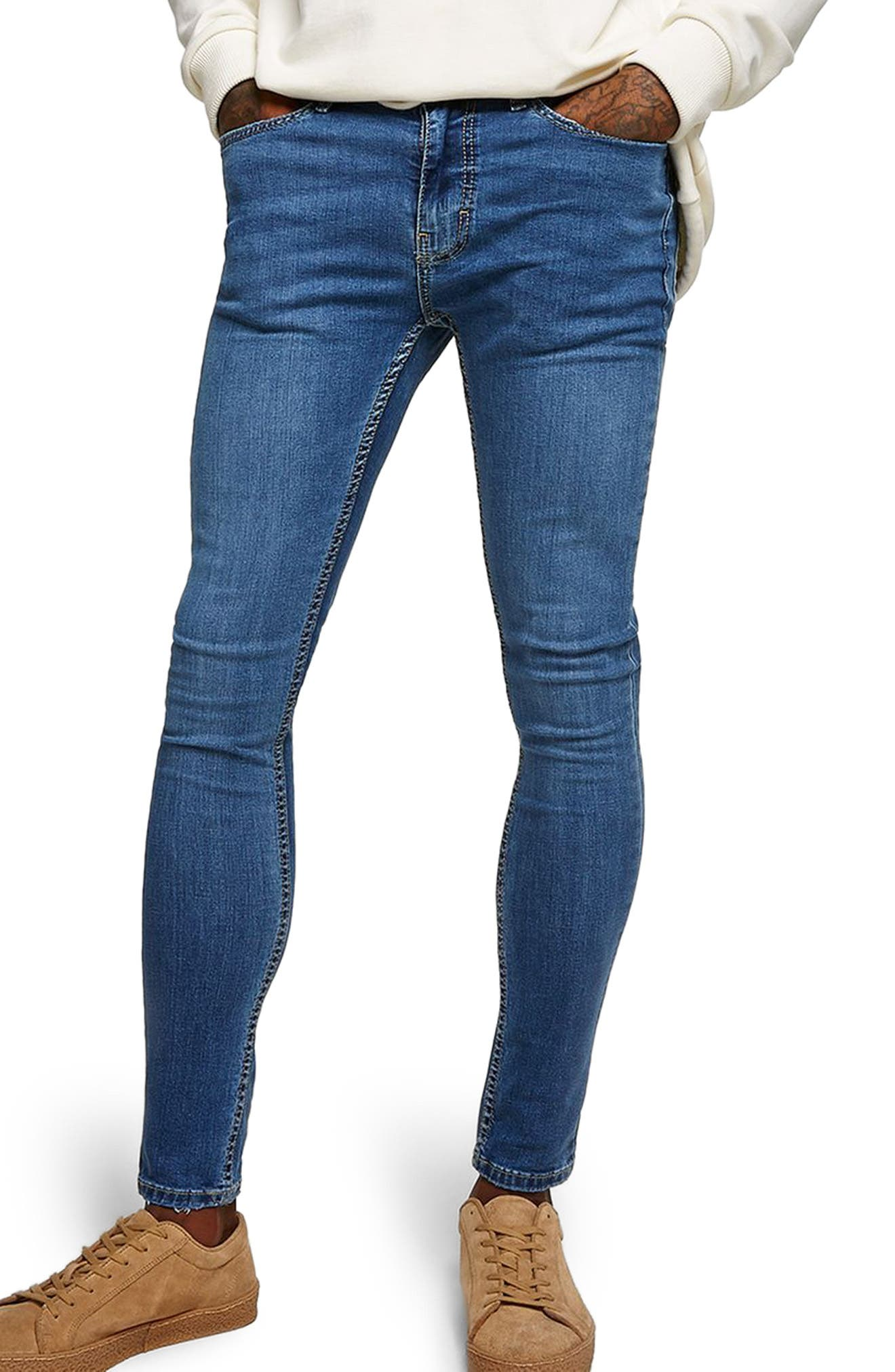 Skinny Fit Spray-On Jeans,                             Main thumbnail 1, color,                             Blue