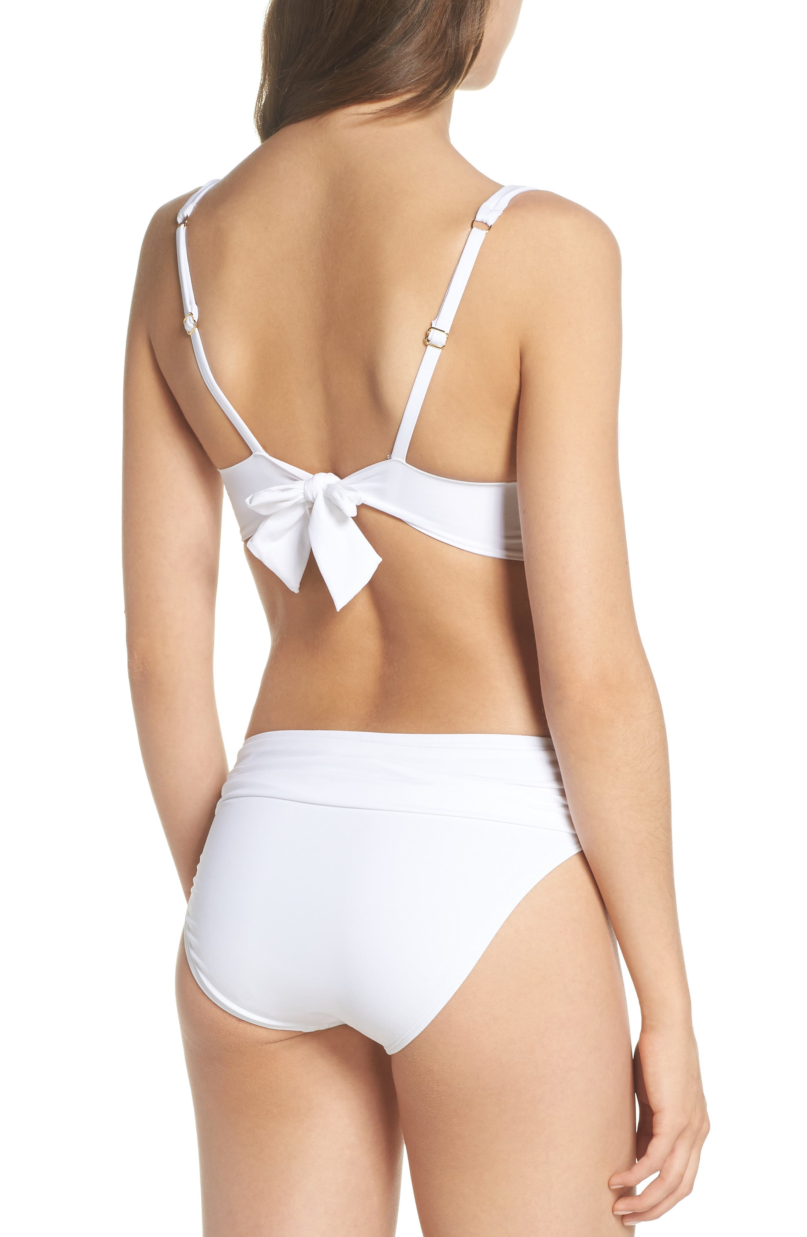 Pearl Twist Front Underwire Bikini Top,                             Alternate thumbnail 6, color,                             White