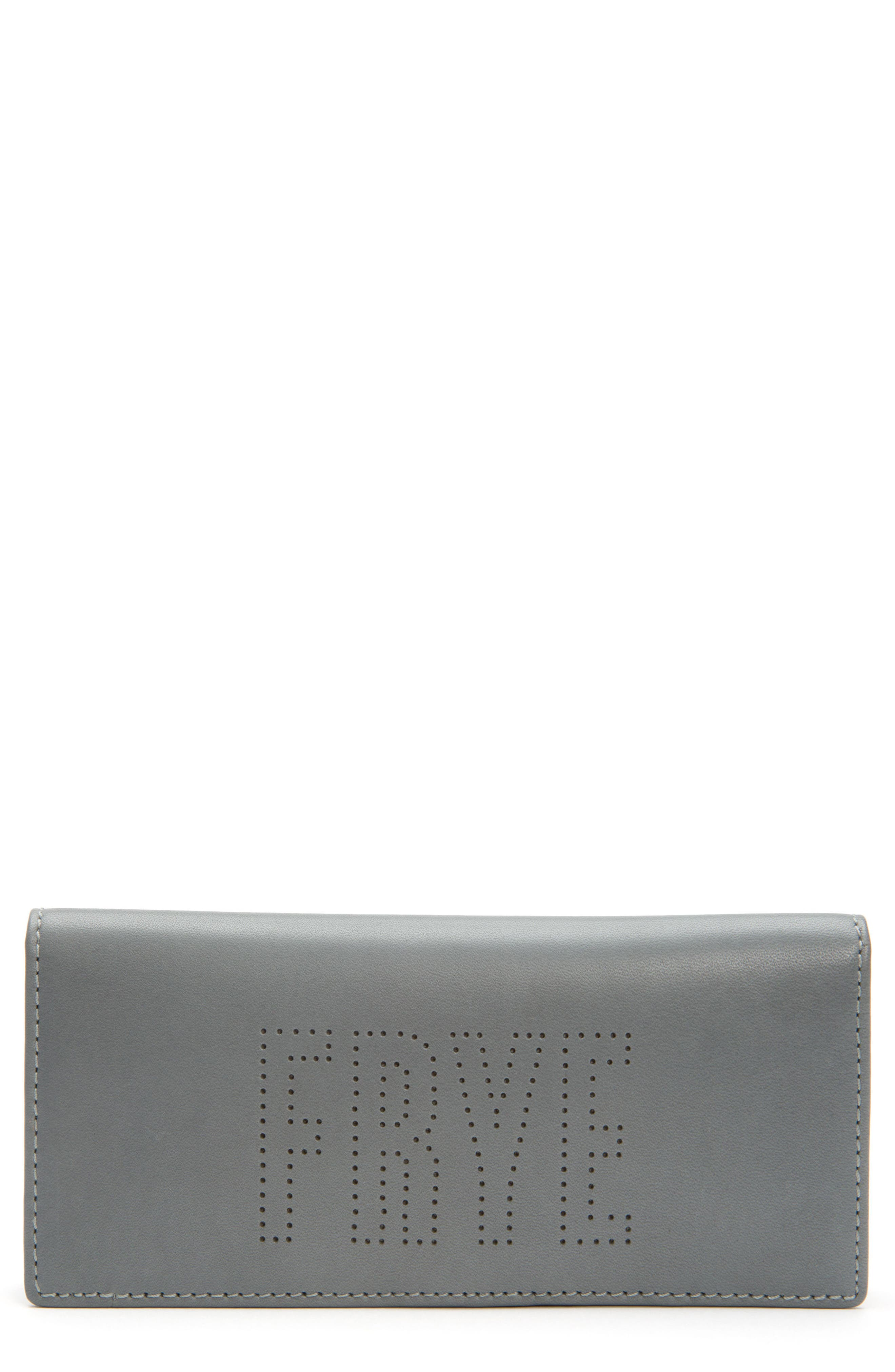 Carson Perforated Logo Slim Leather Wallet,                         Main,                         color, Steel Grey