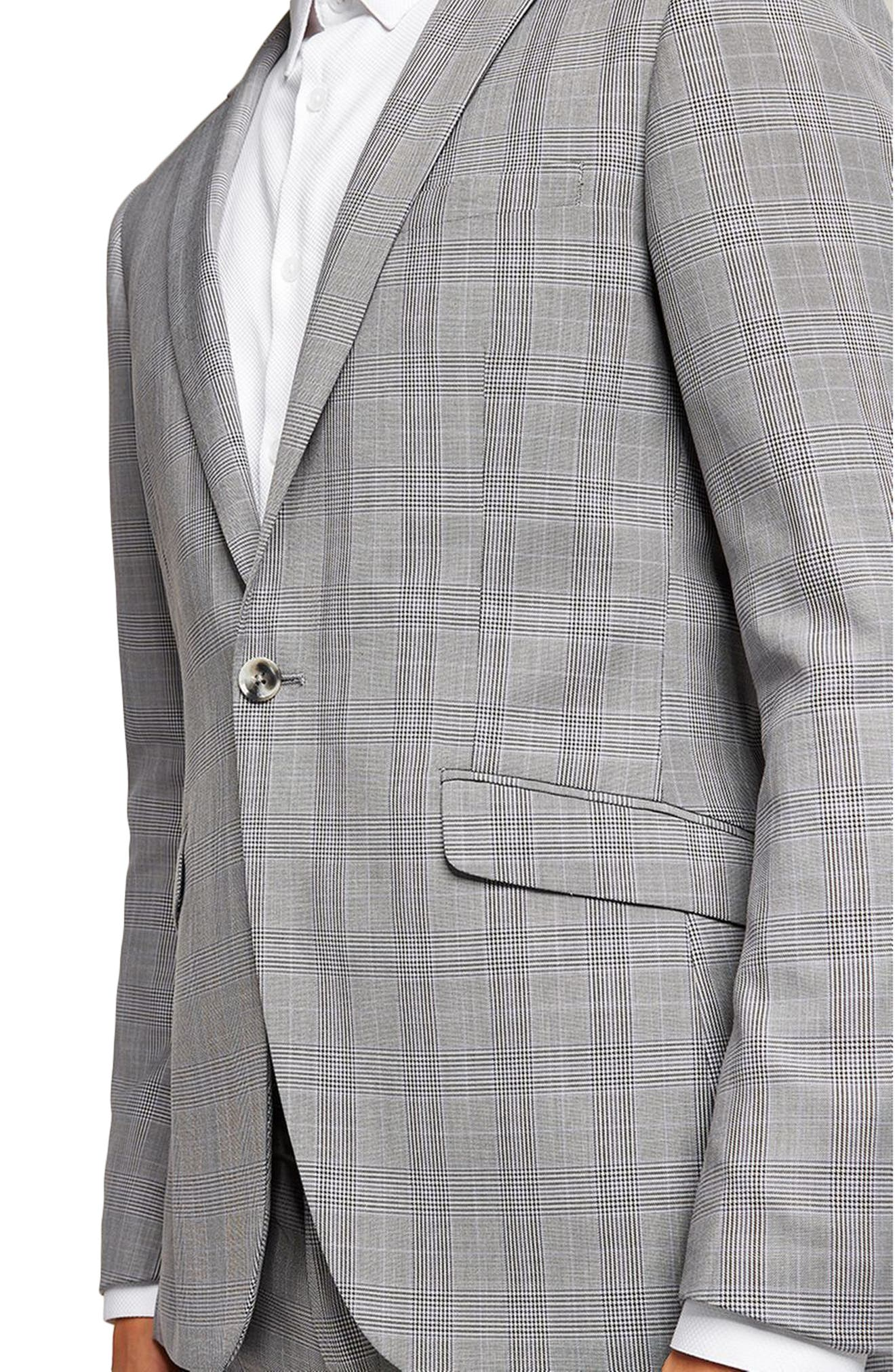 Skinny Fit Check Suit Jacket,                             Alternate thumbnail 3, color,                             Grey Multi
