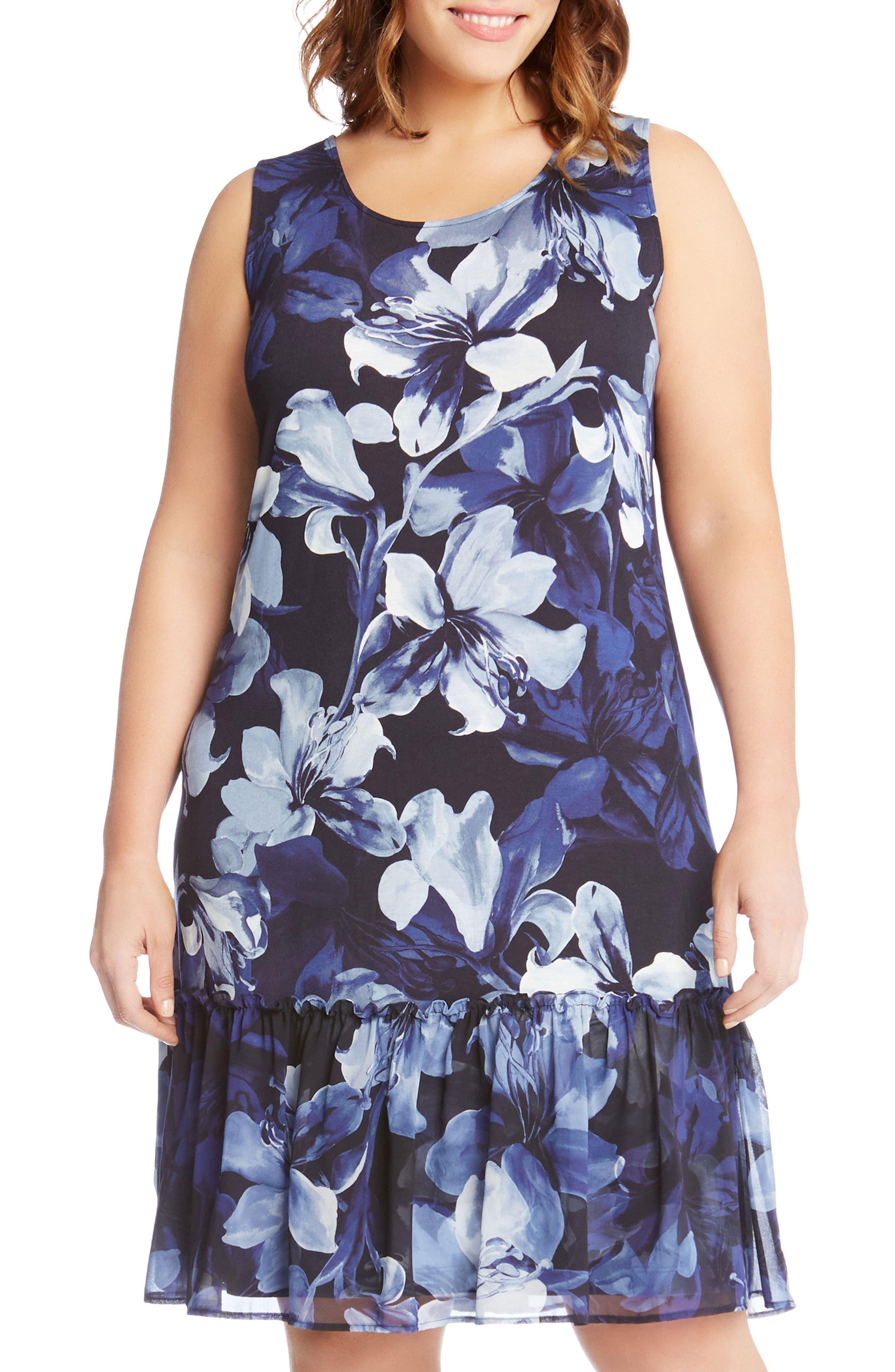 Alternate Image 3  - Karen Kane Floral Ruffle Hem Georgette A-Line Dress (Plus Size)