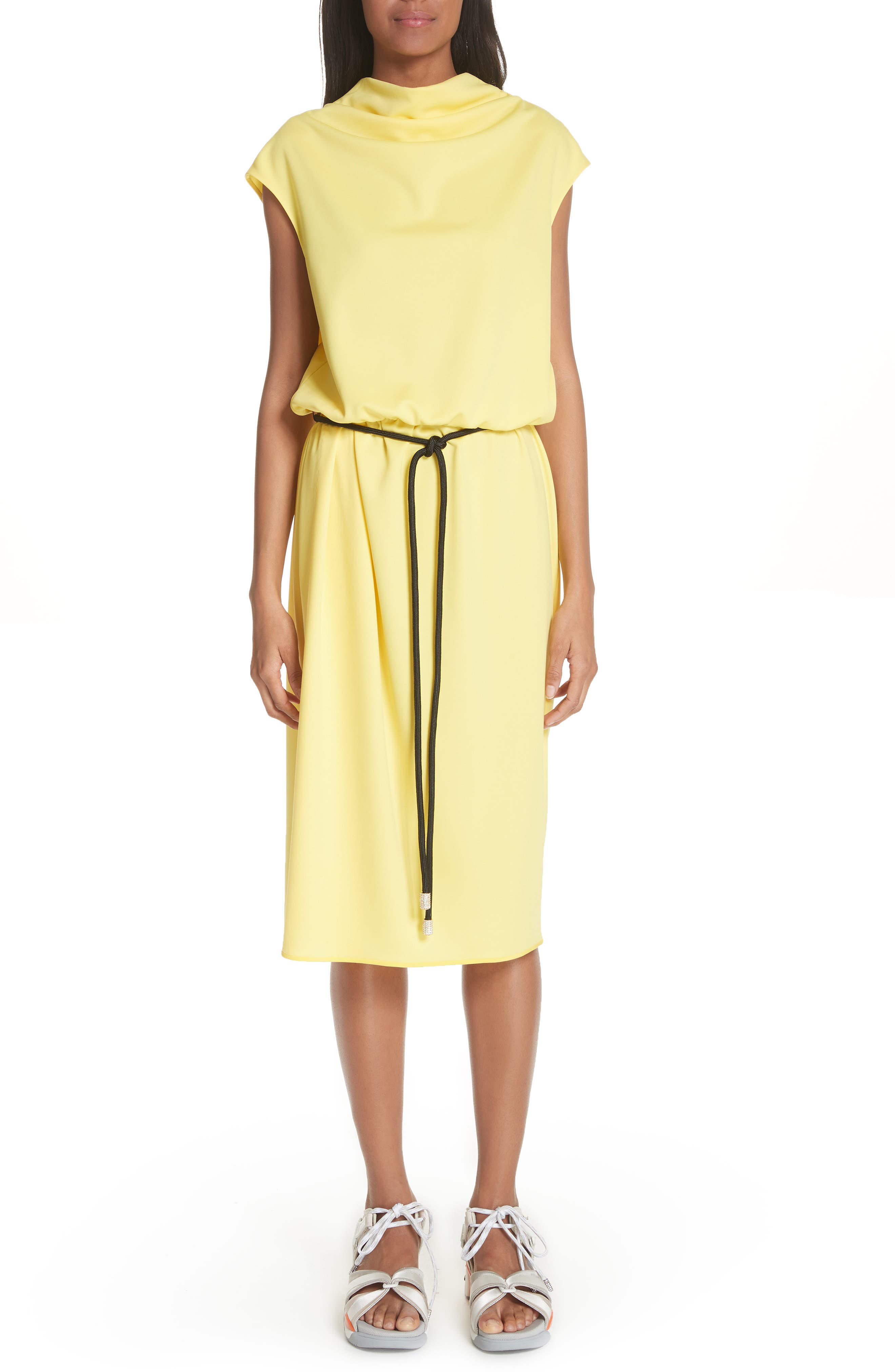 Cowl Neck Belted Dress,                             Main thumbnail 1, color,                             Yellow