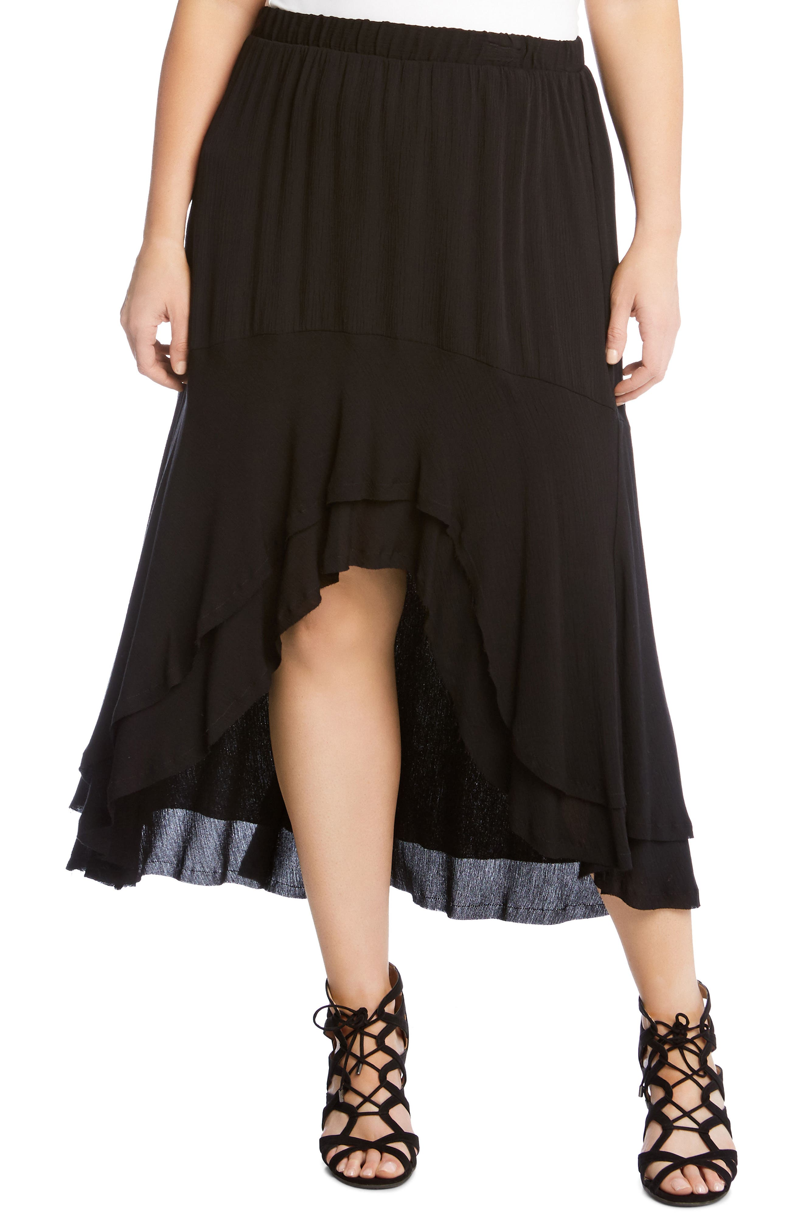 Karen Kane Asymmetrical Hem High/Low Skirt (Plus Size)