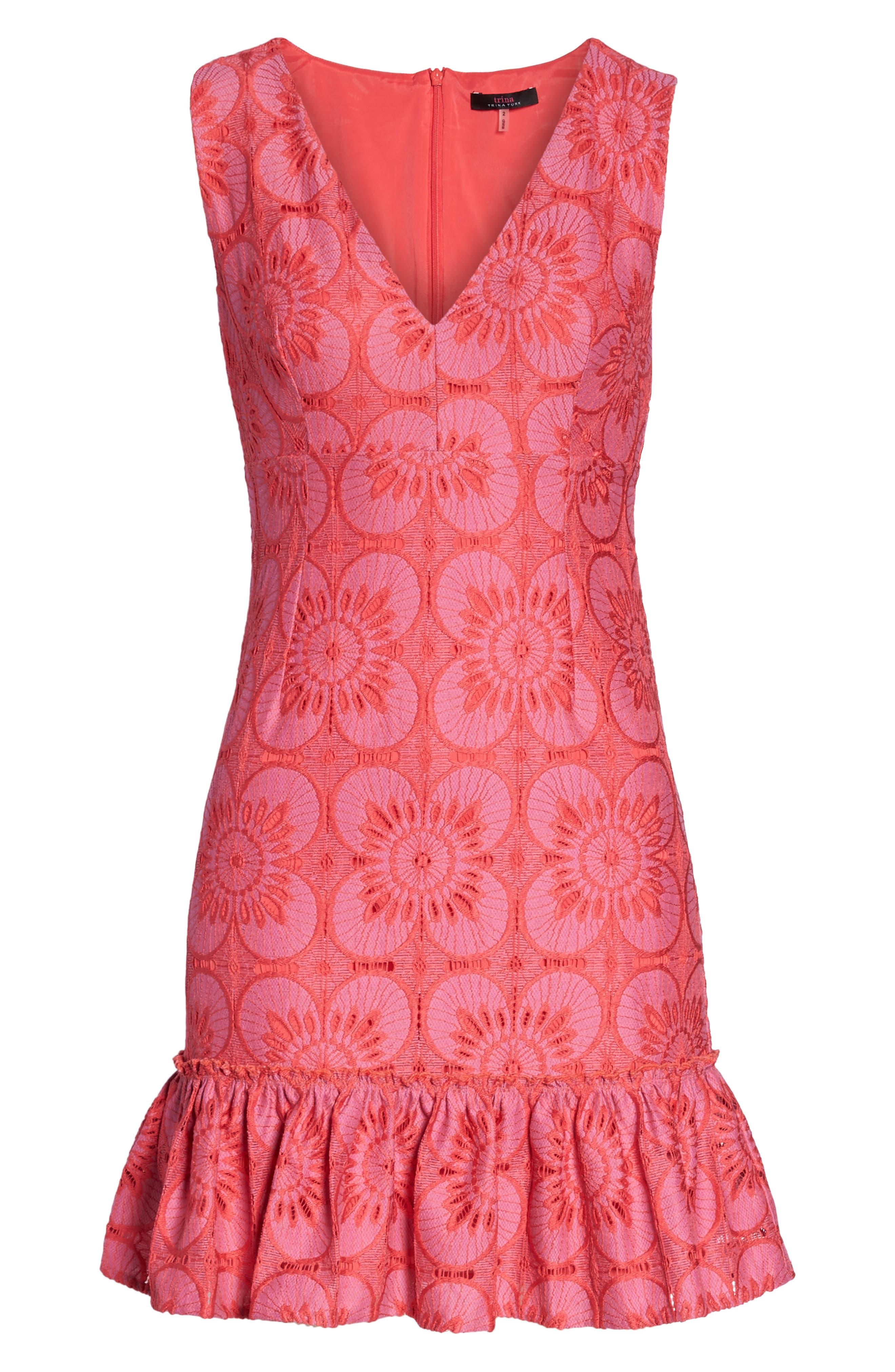 Carpinteria Lace Ruffle Hem Dress,                             Alternate thumbnail 6, color,                             Peony