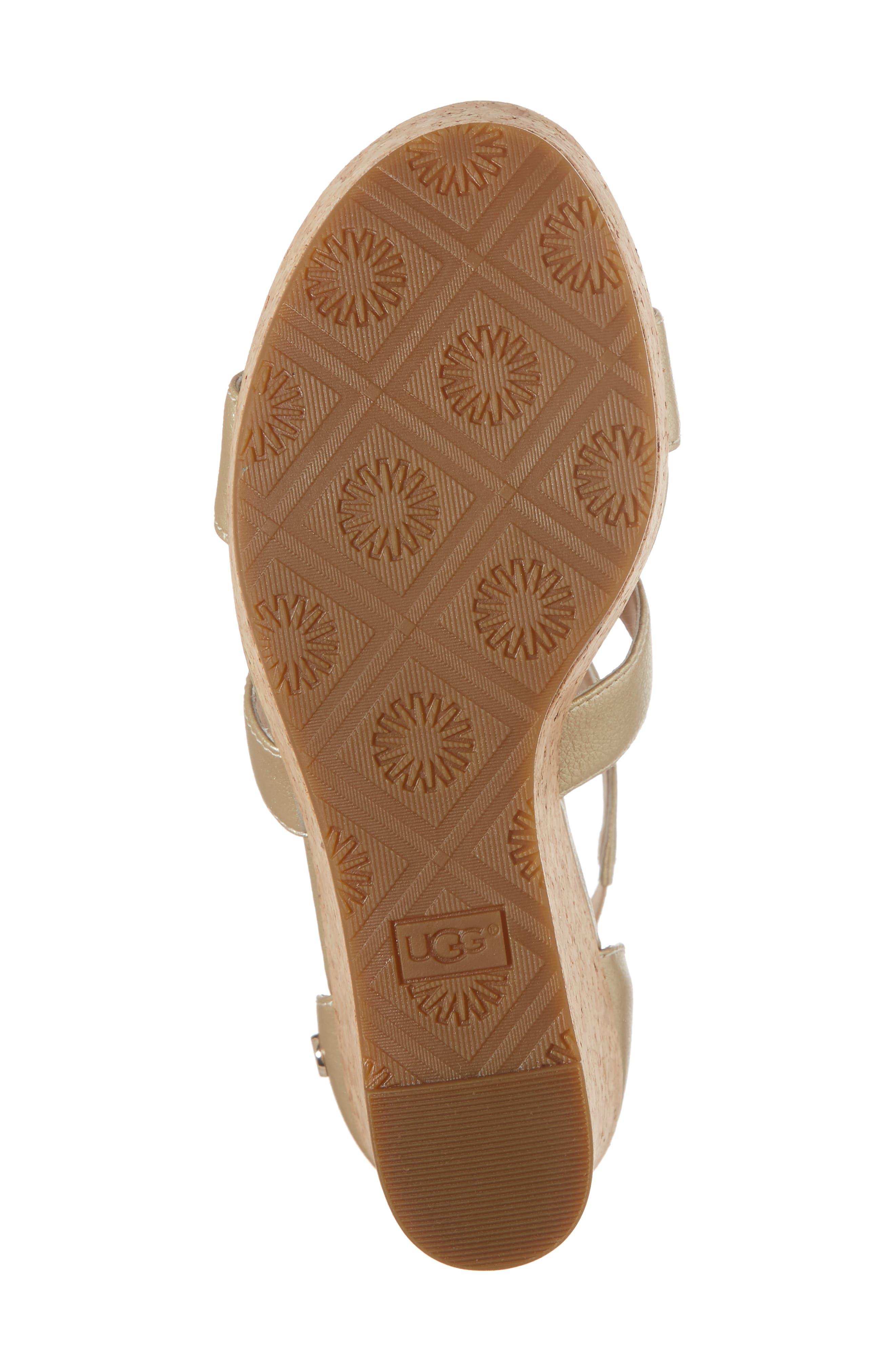 Whitney Platform Wedge Sandal,                             Alternate thumbnail 6, color,                             Gold Leather