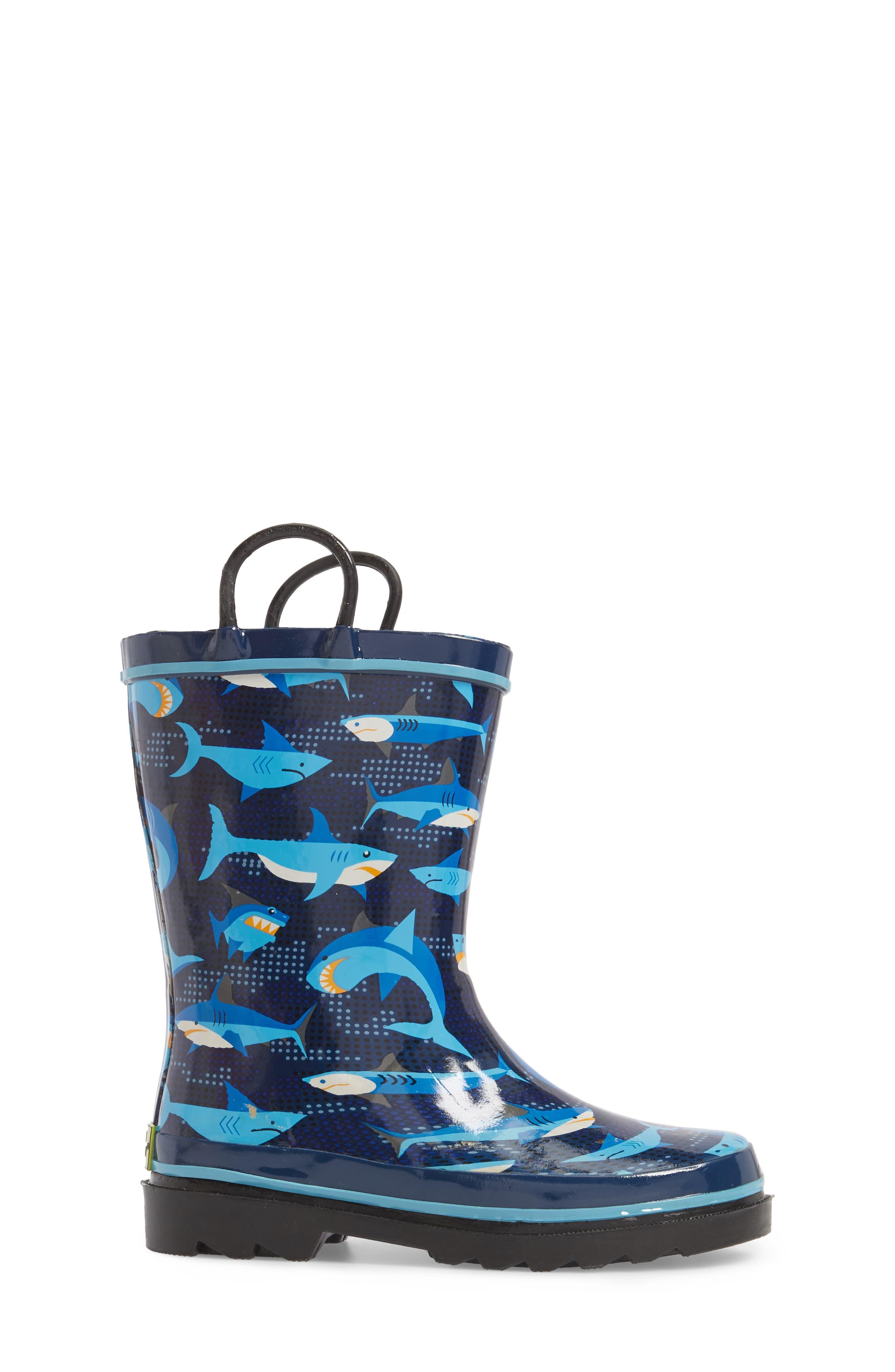 Pixel Shark Camo Rain Boot,                             Alternate thumbnail 3, color,                             Navy