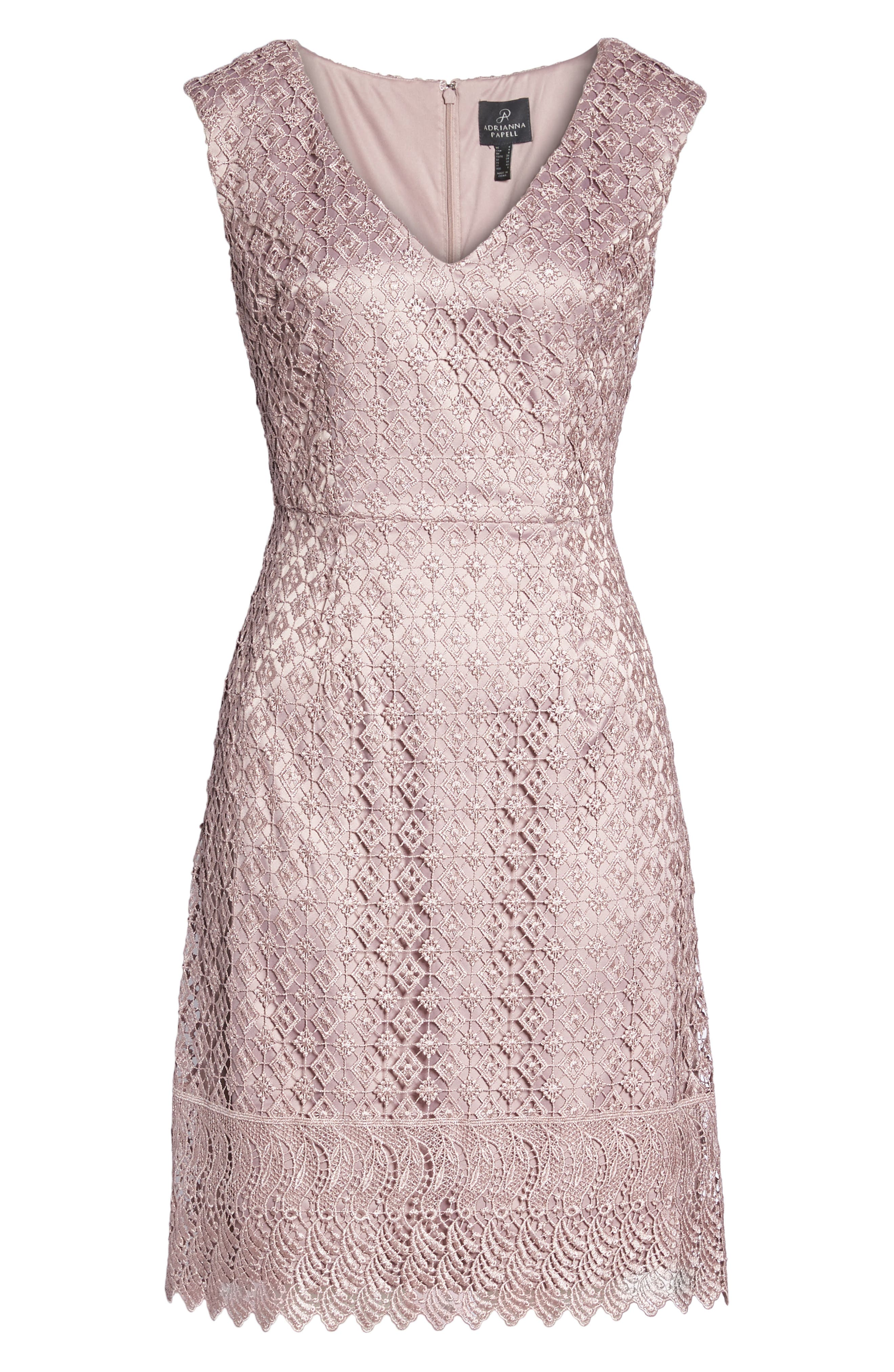 Guipure Lace Dress,                             Alternate thumbnail 6, color,                             Pink Sateen
