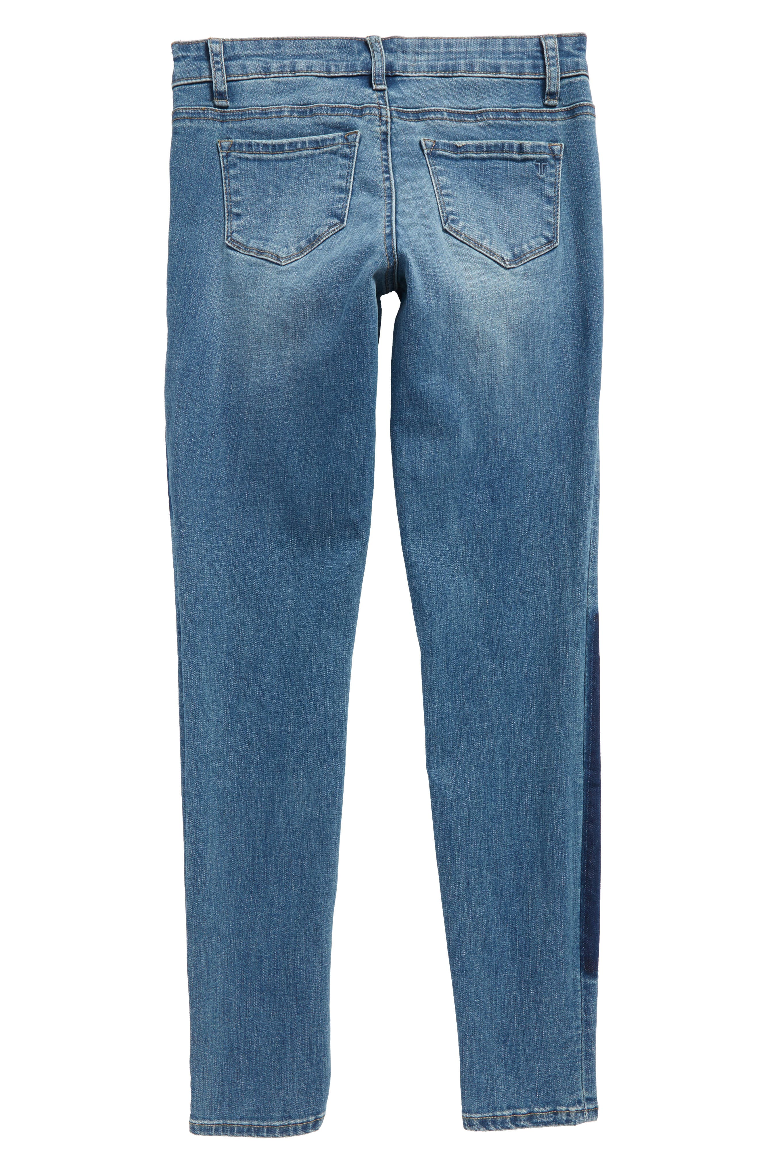 Patch Ankle Skinny Jeans,                             Alternate thumbnail 2, color,                             Indigo