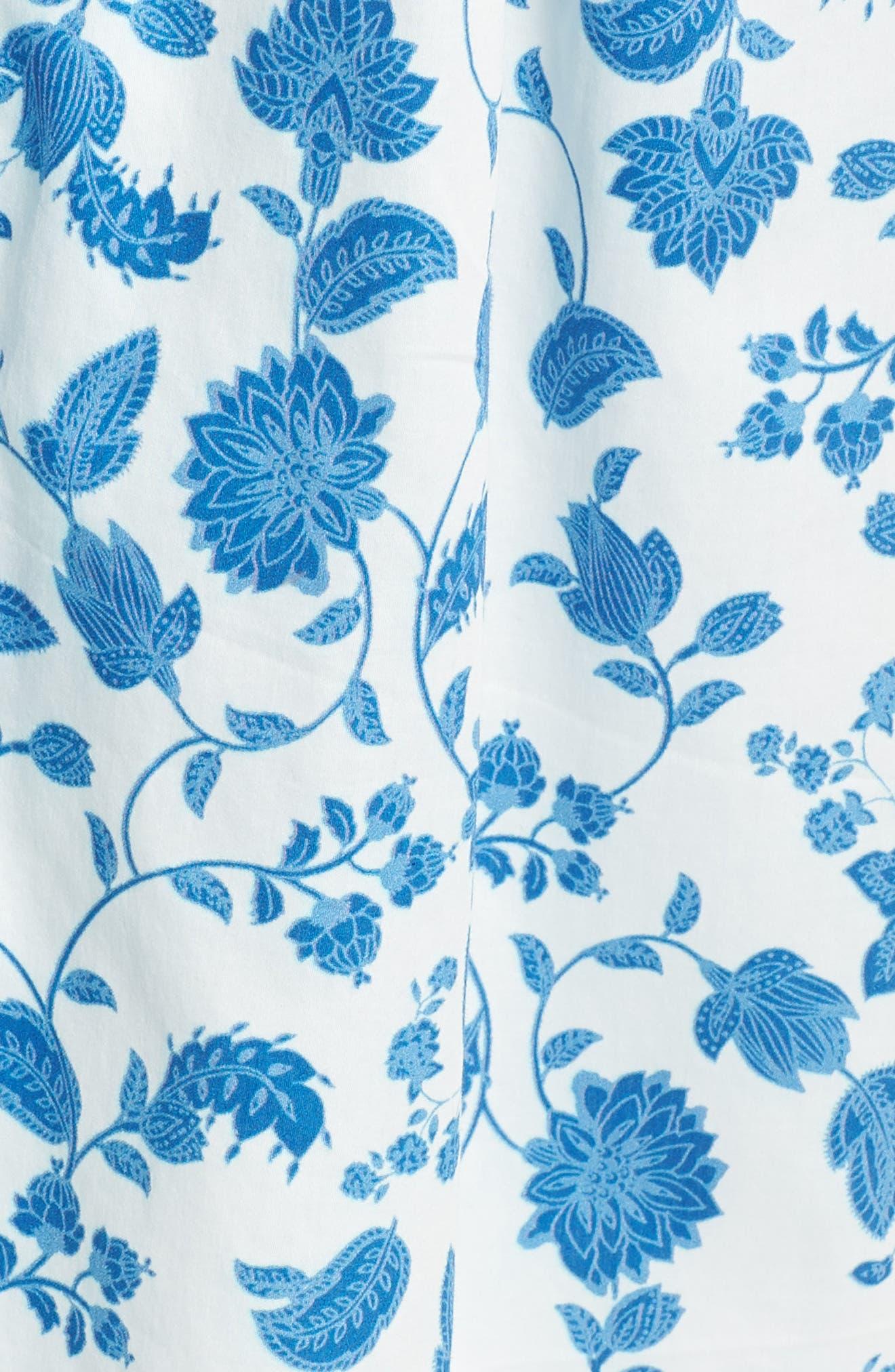 Olivia Floral Wallpaper Print Fit & Flare Dress,                             Alternate thumbnail 7, color,                             Cloud/ Blue