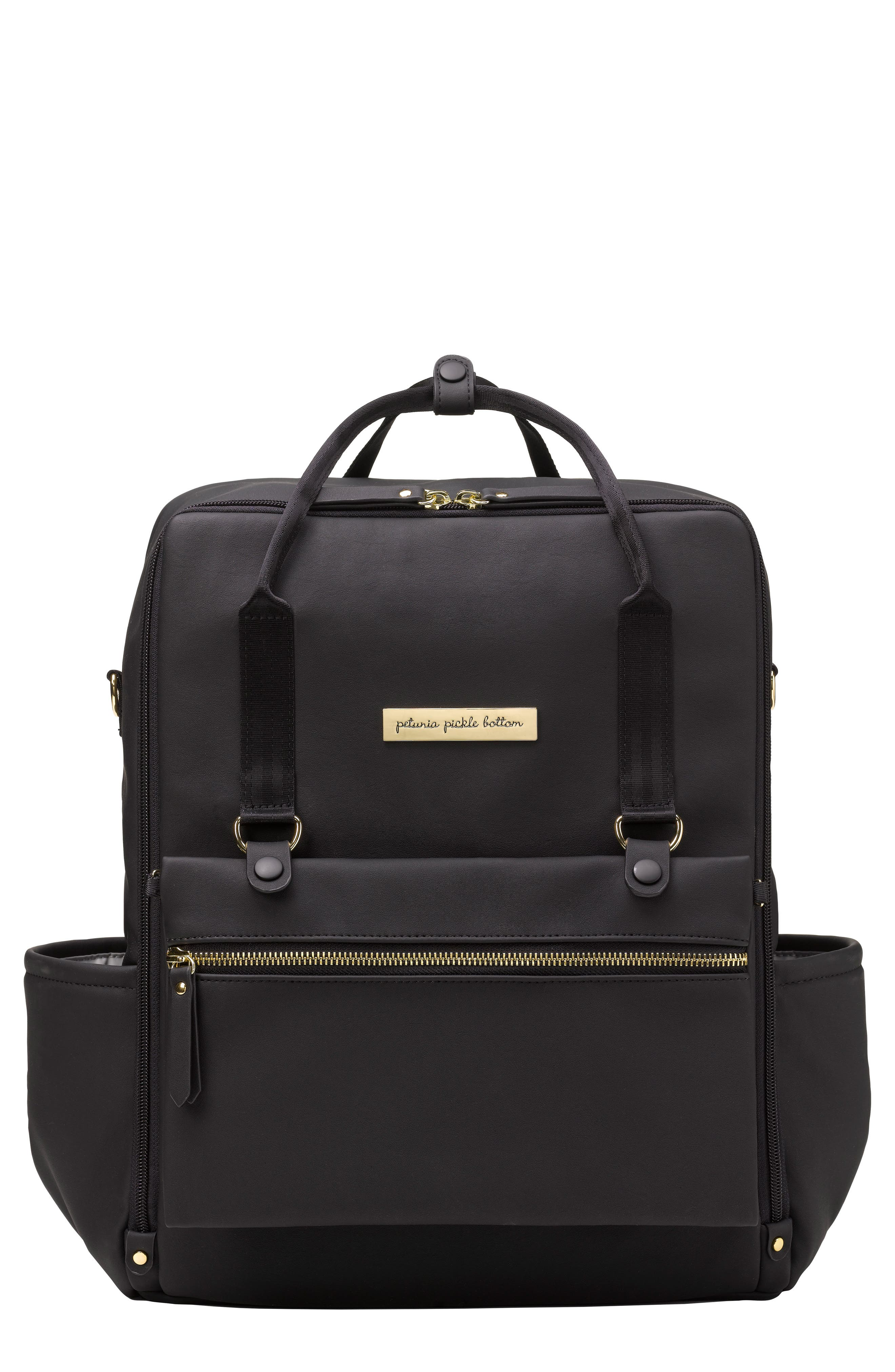 Balance Backpack Diaper Bag,                             Main thumbnail 1, color,                             Black Matte Leatherette