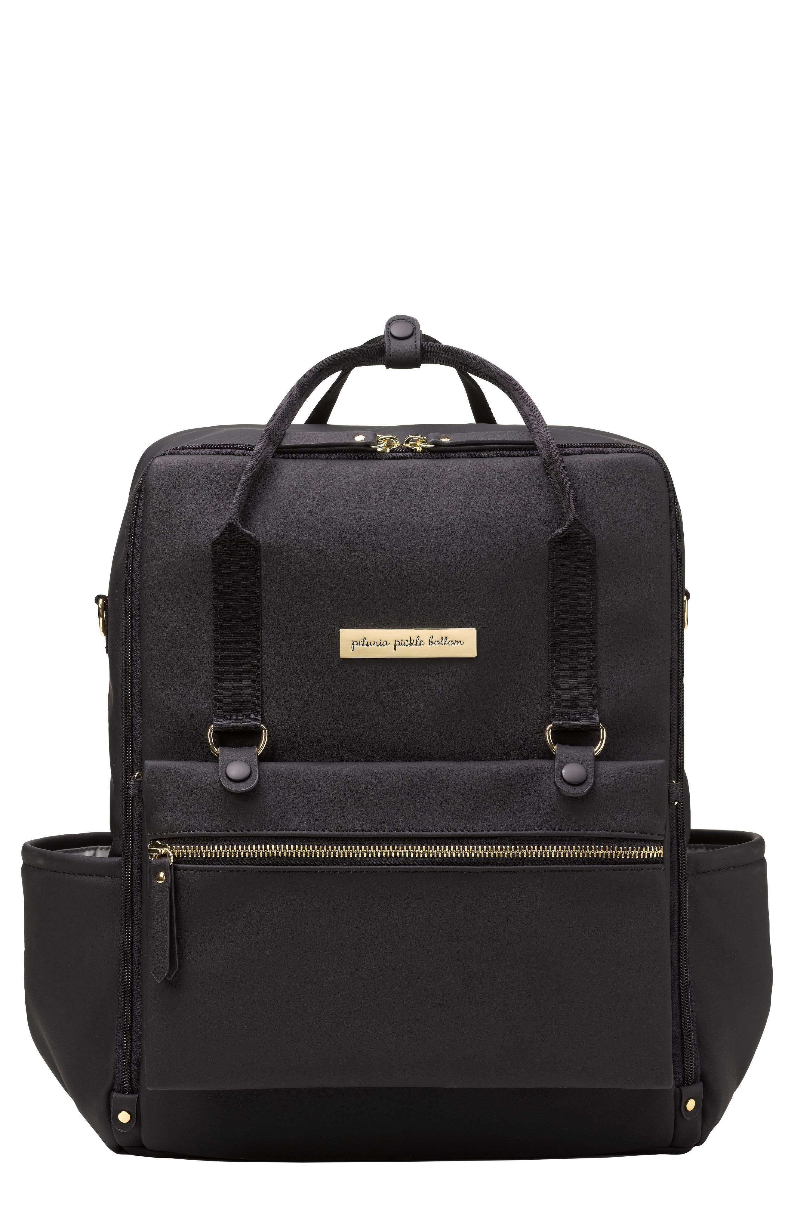 Balance Backpack Diaper Bag,                         Main,                         color, Black Matte Leatherette