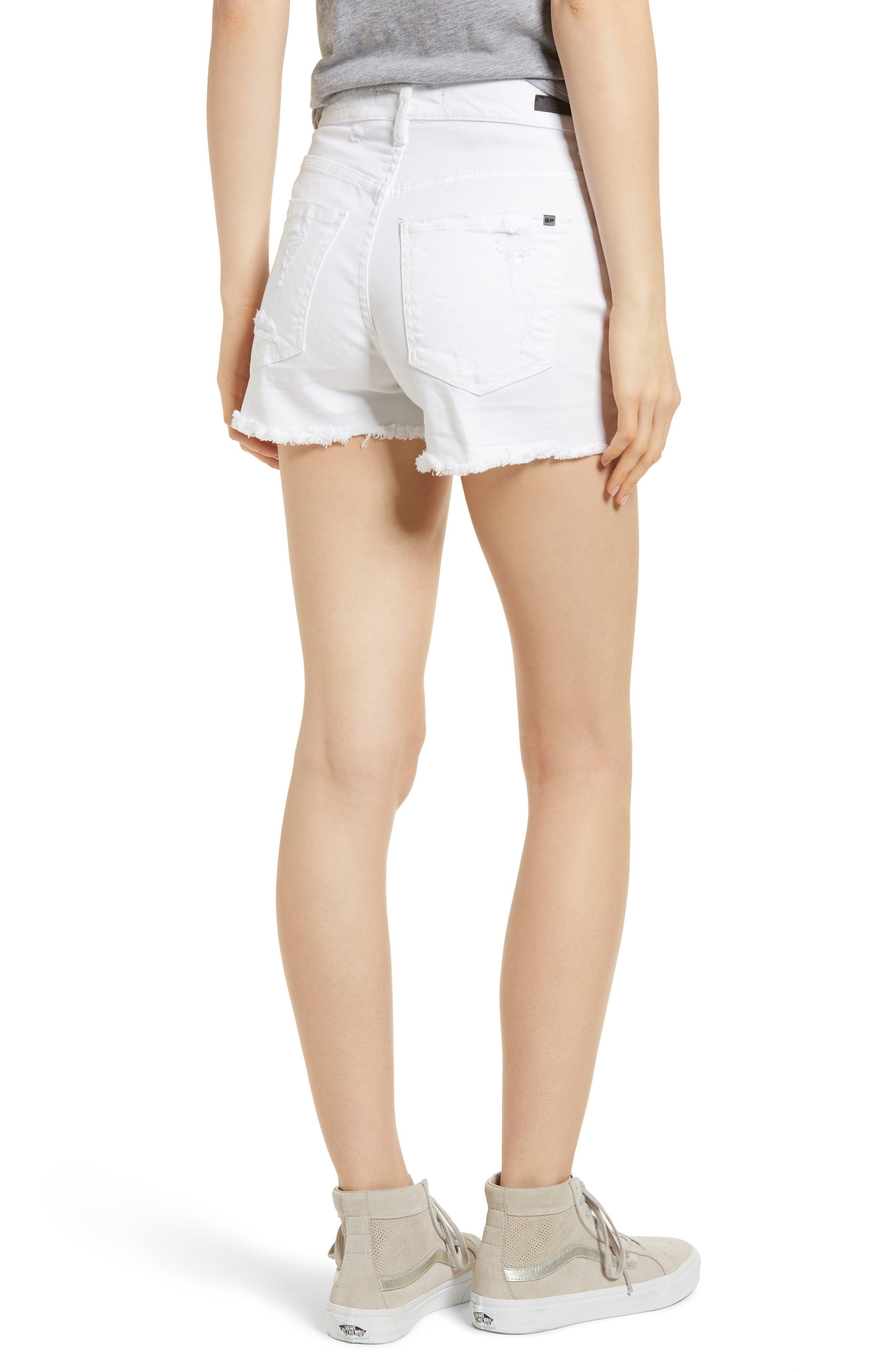 Ripped Cutoff Shorts,                             Alternate thumbnail 2, color,                             White