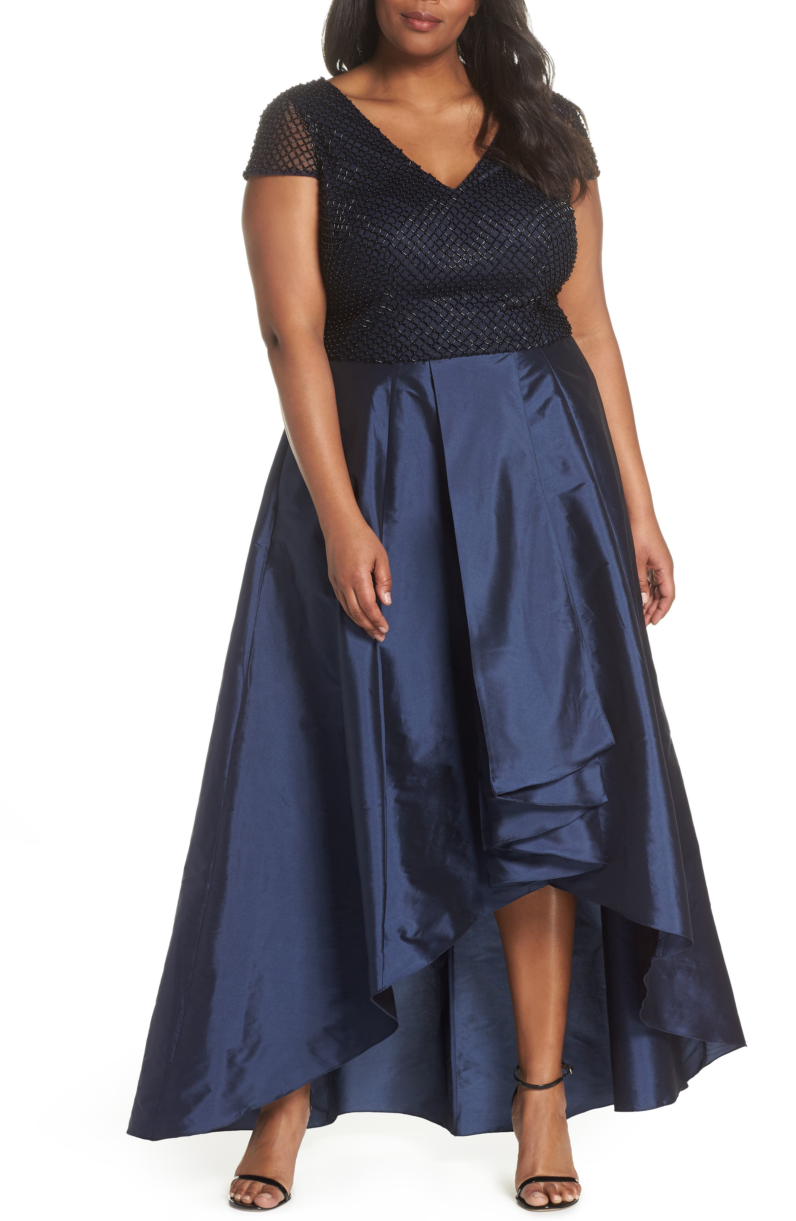 Bead Embellished High/Low Gown,                             Main thumbnail 1, color,                             Navy