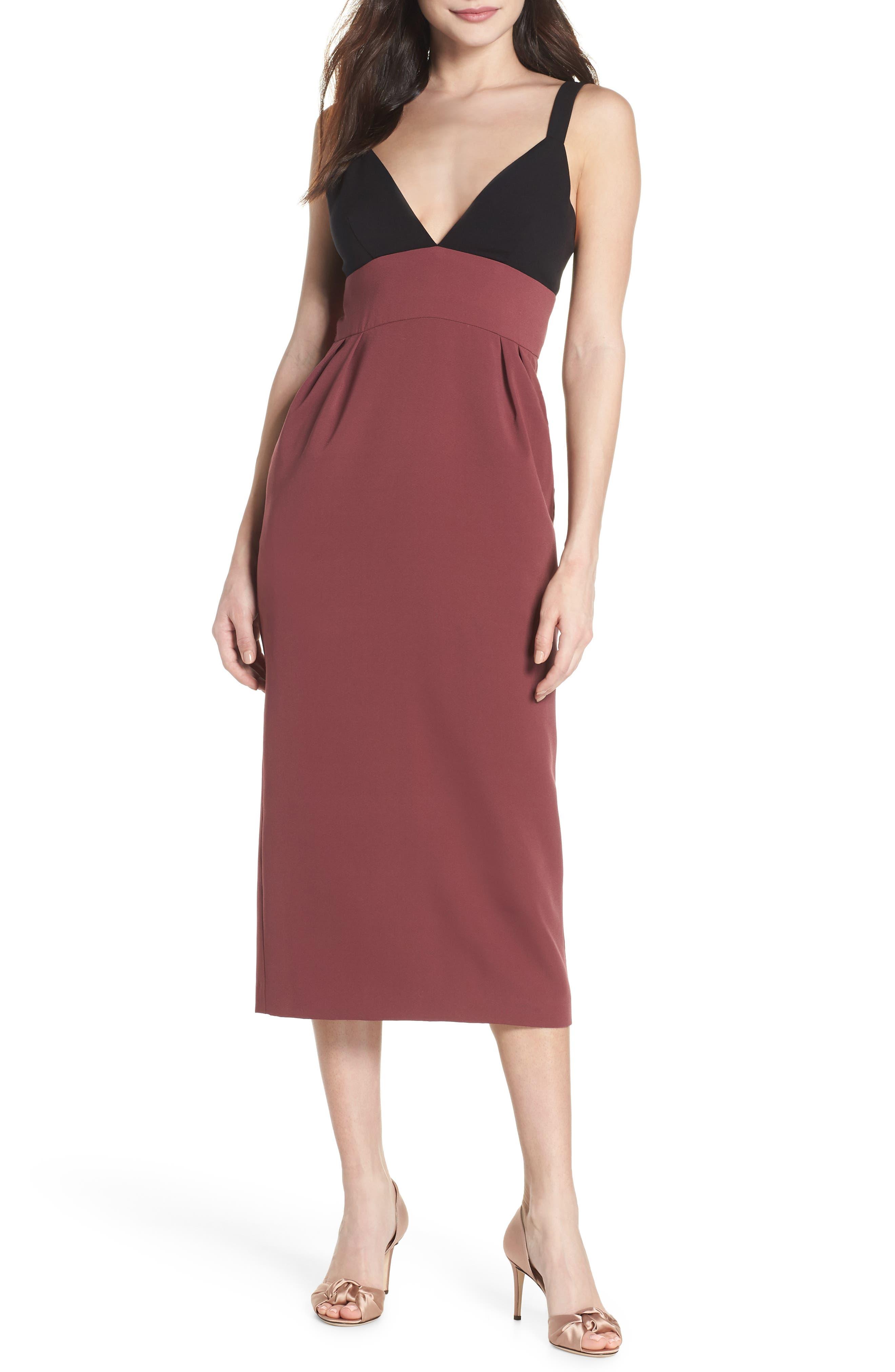 Colorblock Midi Dress,                             Main thumbnail 1, color,                             Black/ Pandora
