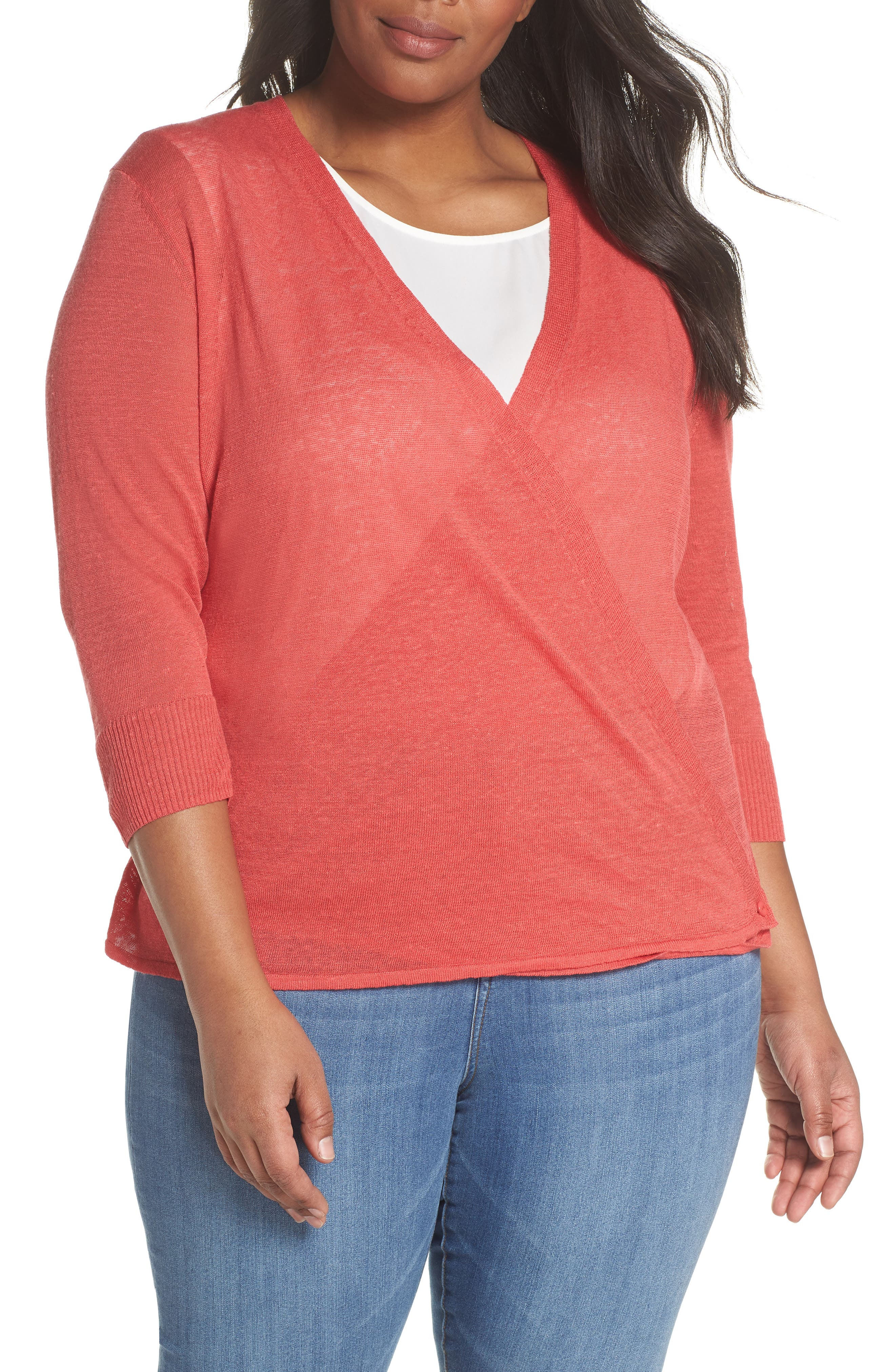 4-Way Convertible Three Quarter Sleeve Cardigan,                             Alternate thumbnail 6, color,                             Spiced Rose