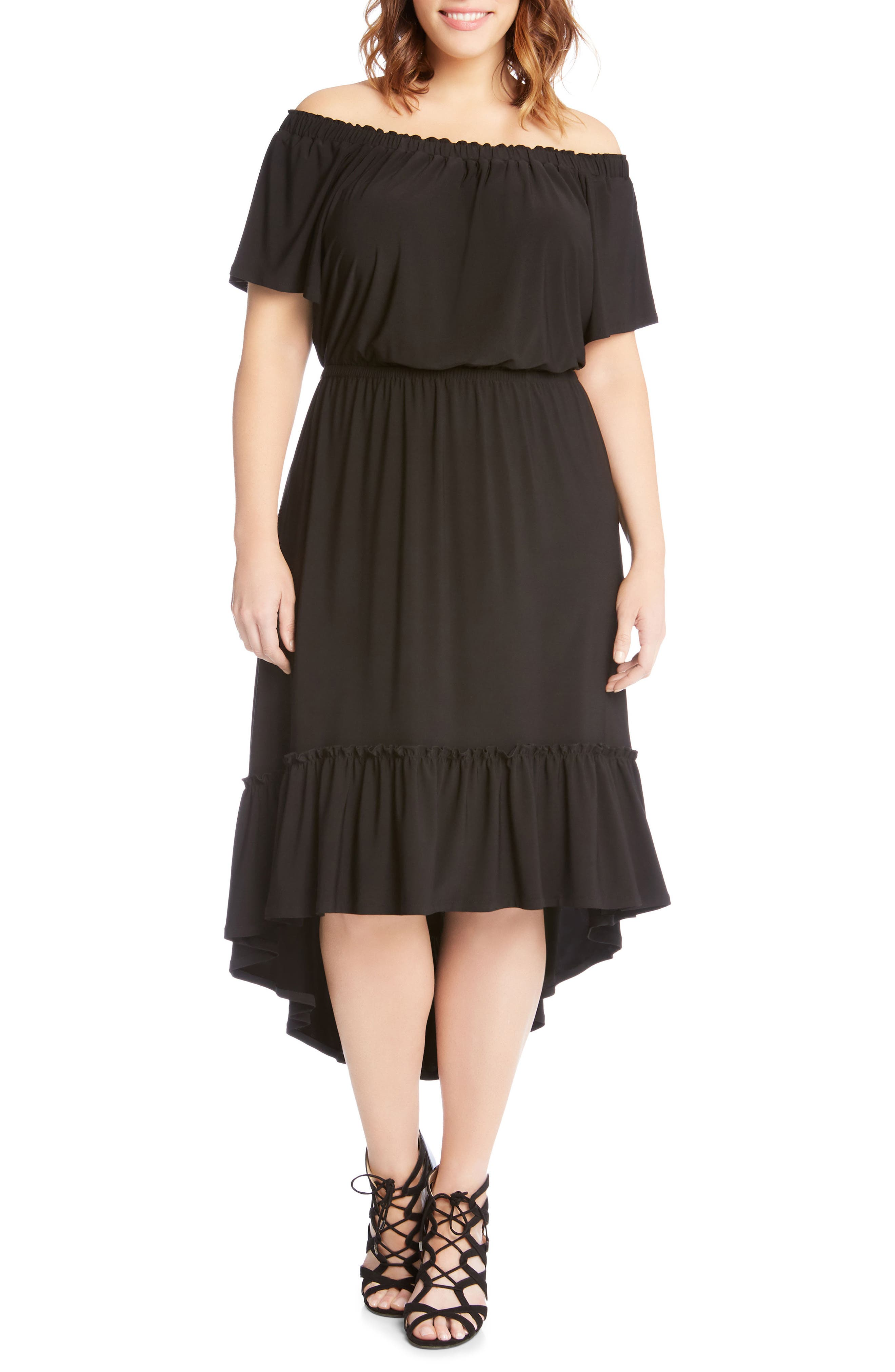 Ruffle Hem Off the Shoulder Dress,                             Main thumbnail 1, color,                             Black