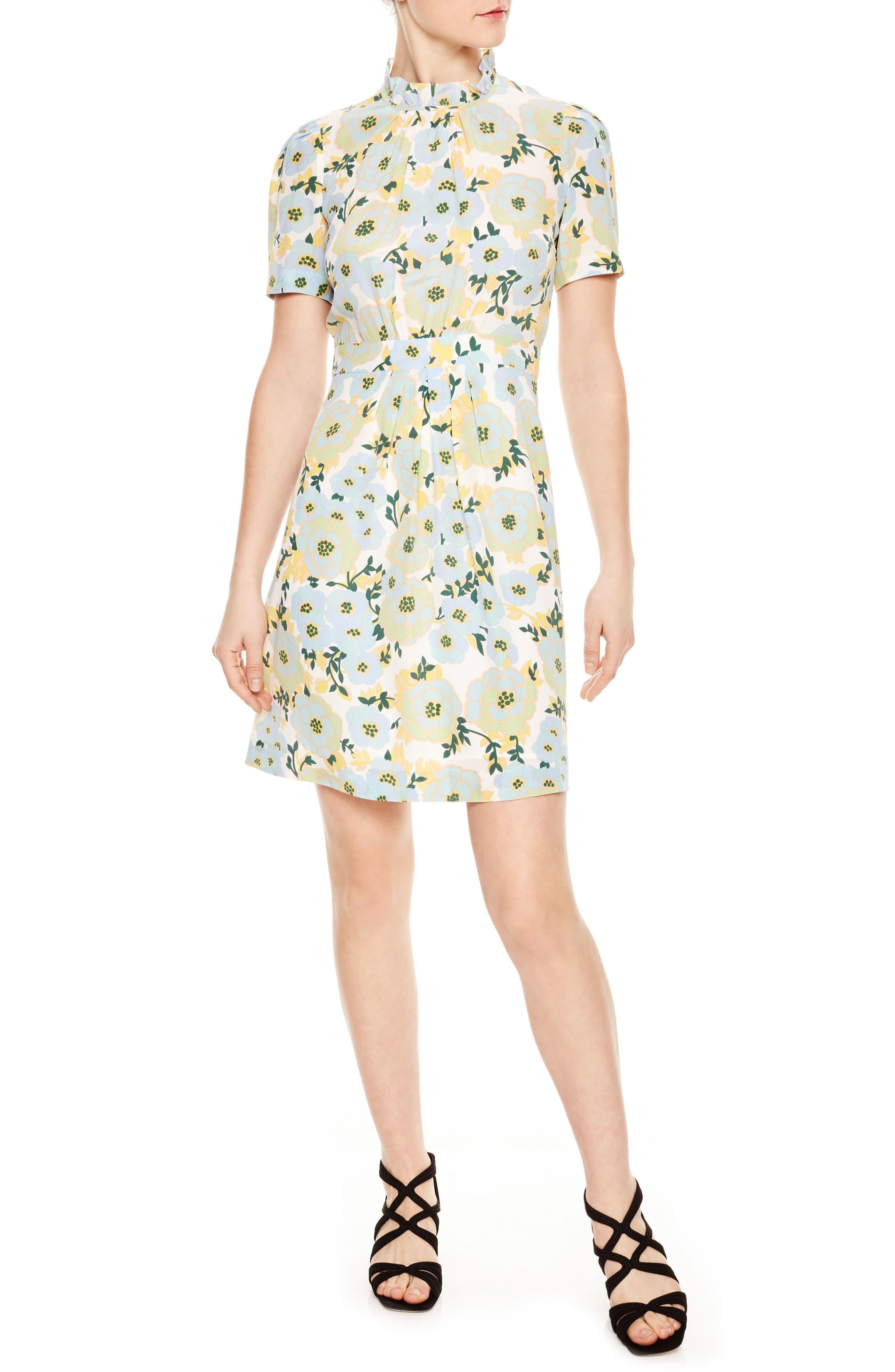 Floral A-Line Silk Dress,                             Main thumbnail 1, color,                             Green
