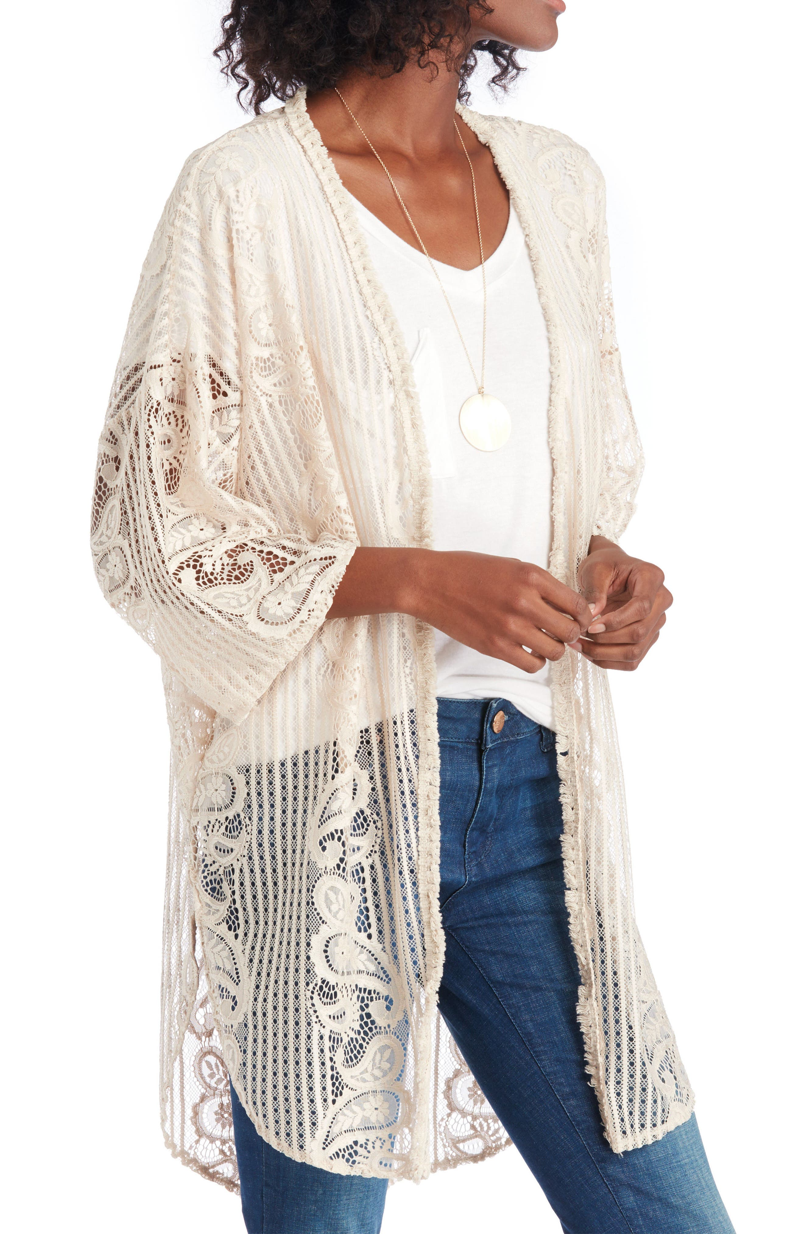 Crochet Lace Kimono,                         Main,                         color, Natural
