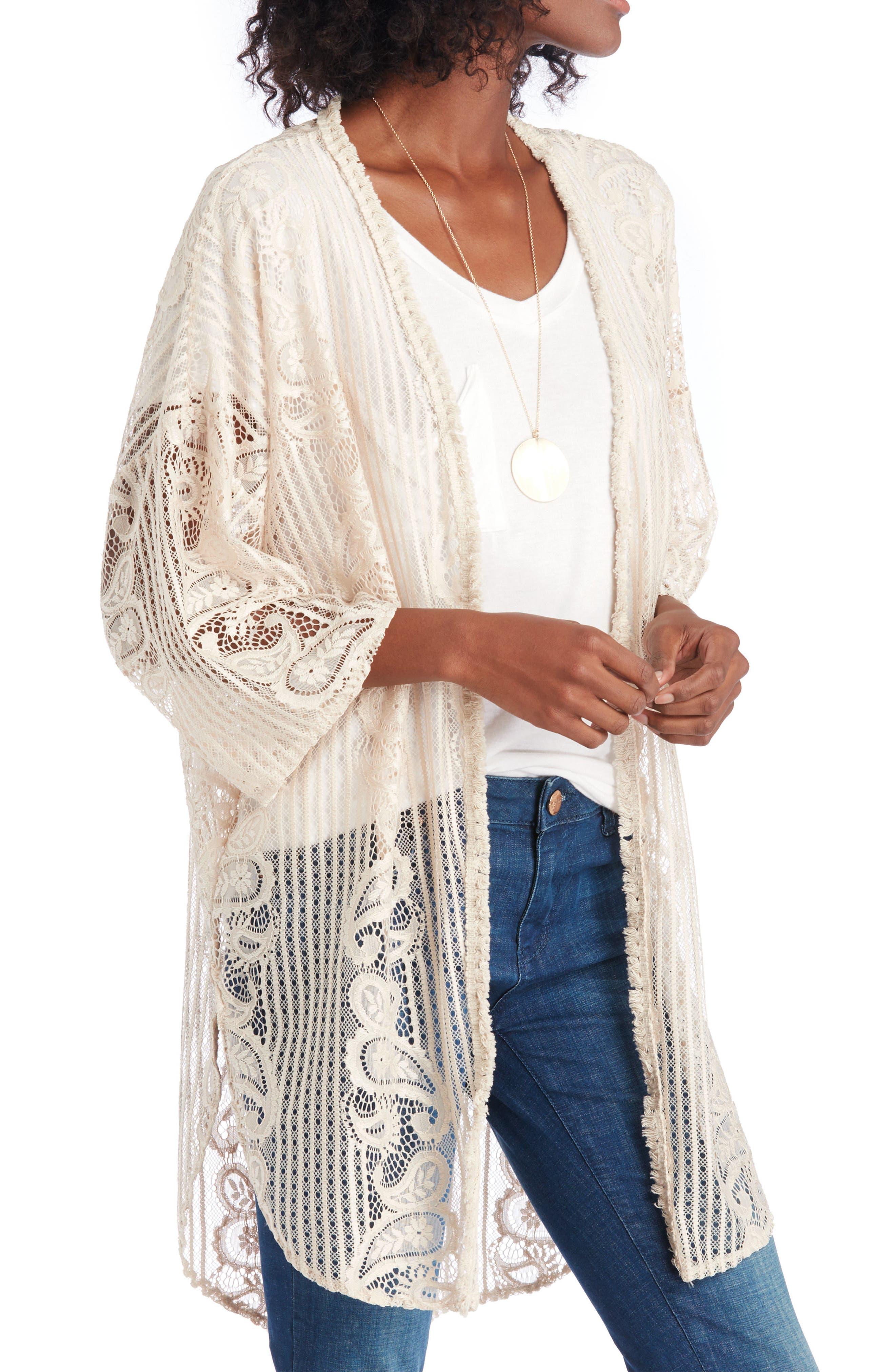 Sole Society Crochet Lace Kimono