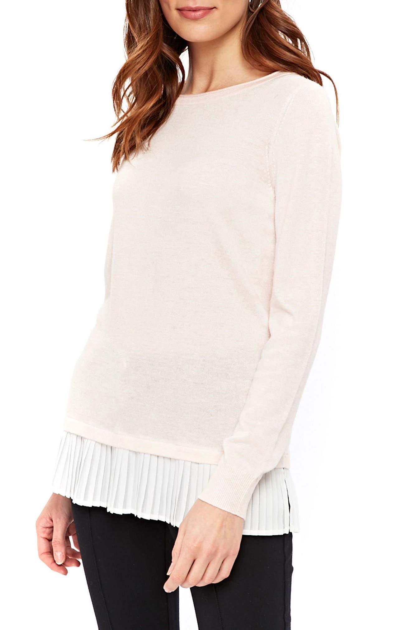 Mixed Media Sweater,                             Main thumbnail 1, color,                             Pink