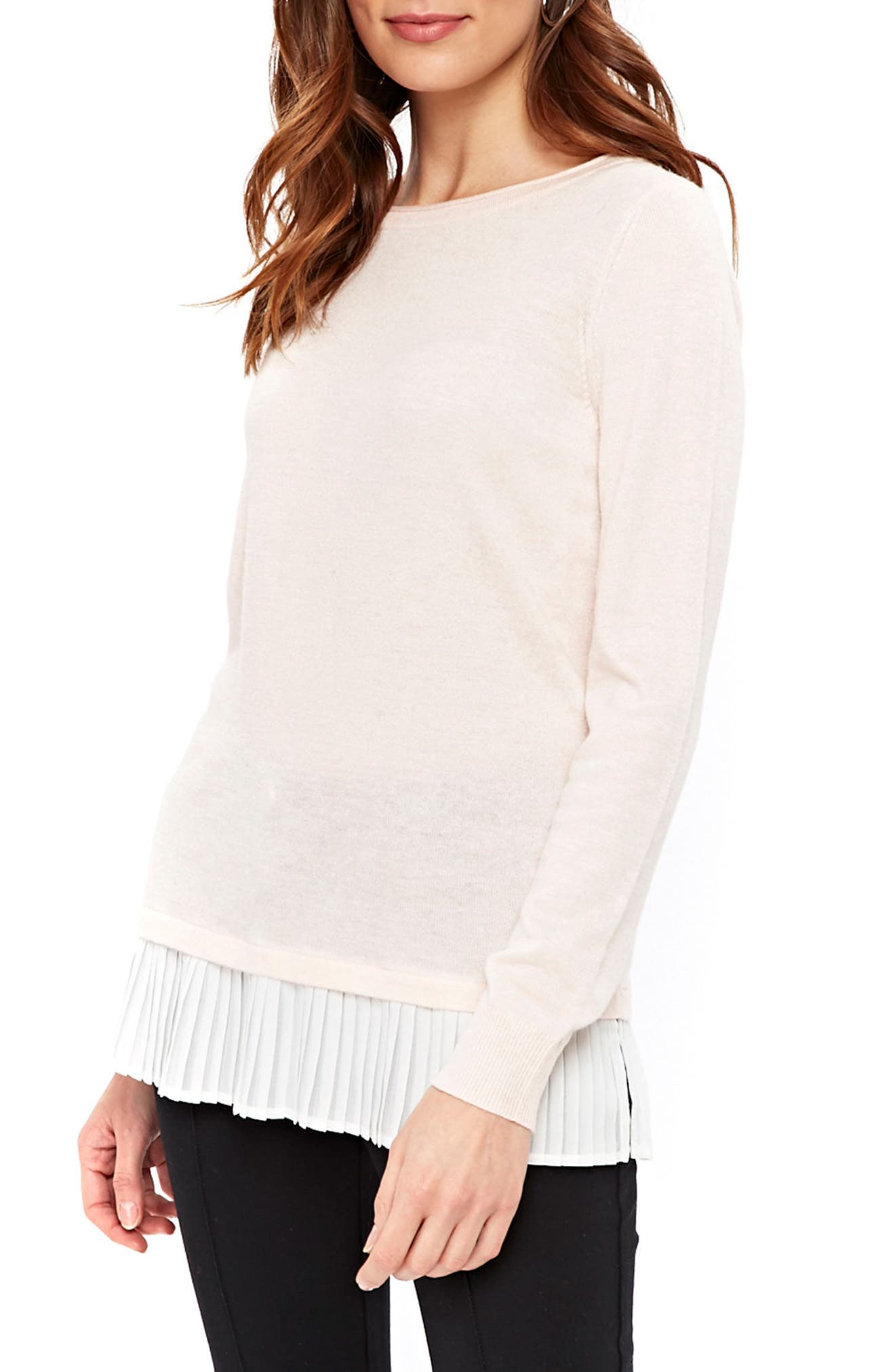 Mixed Media Sweater,                         Main,                         color, Pink