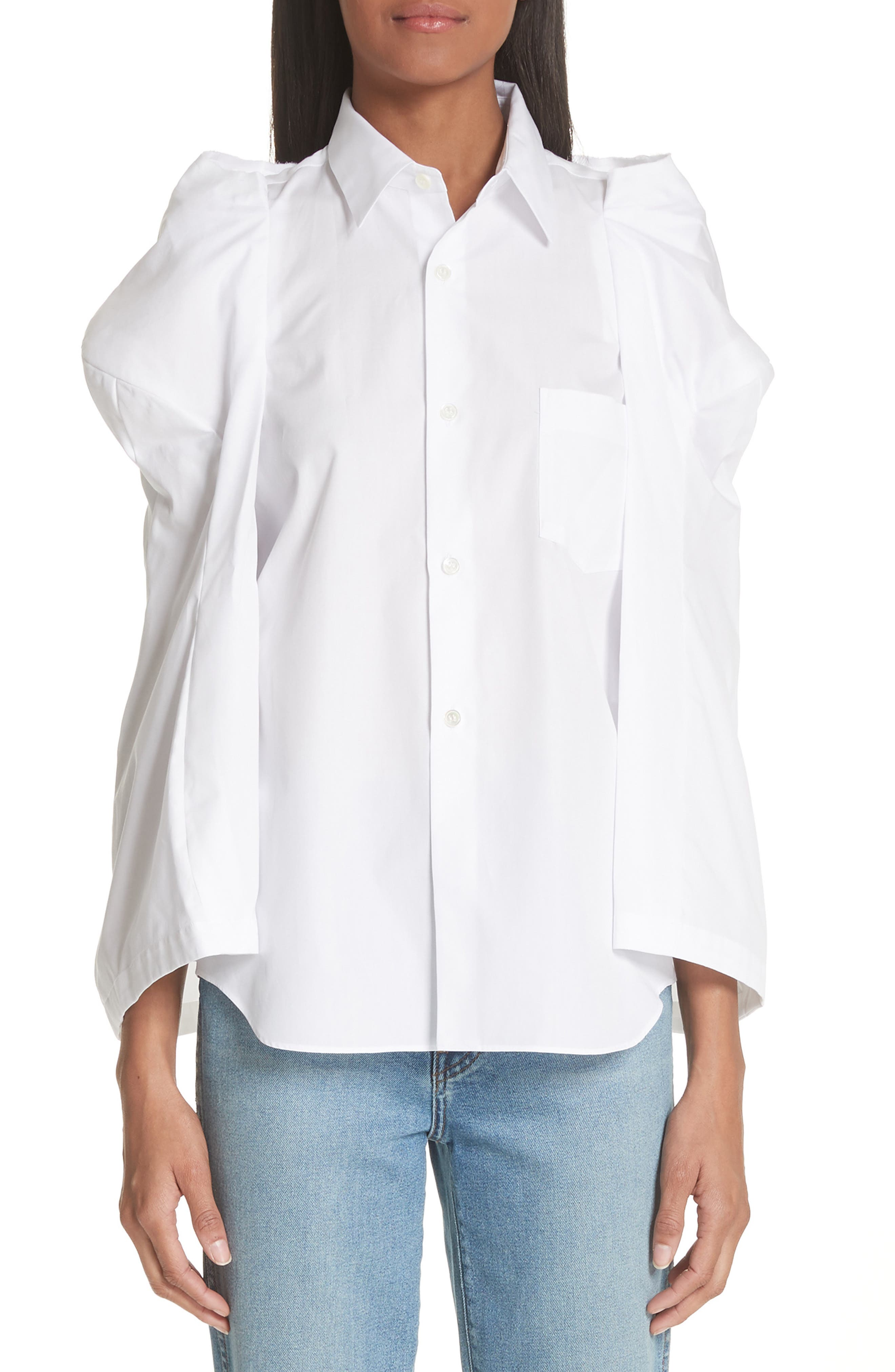 Puff Sleeve Blouse,                         Main,                         color, White