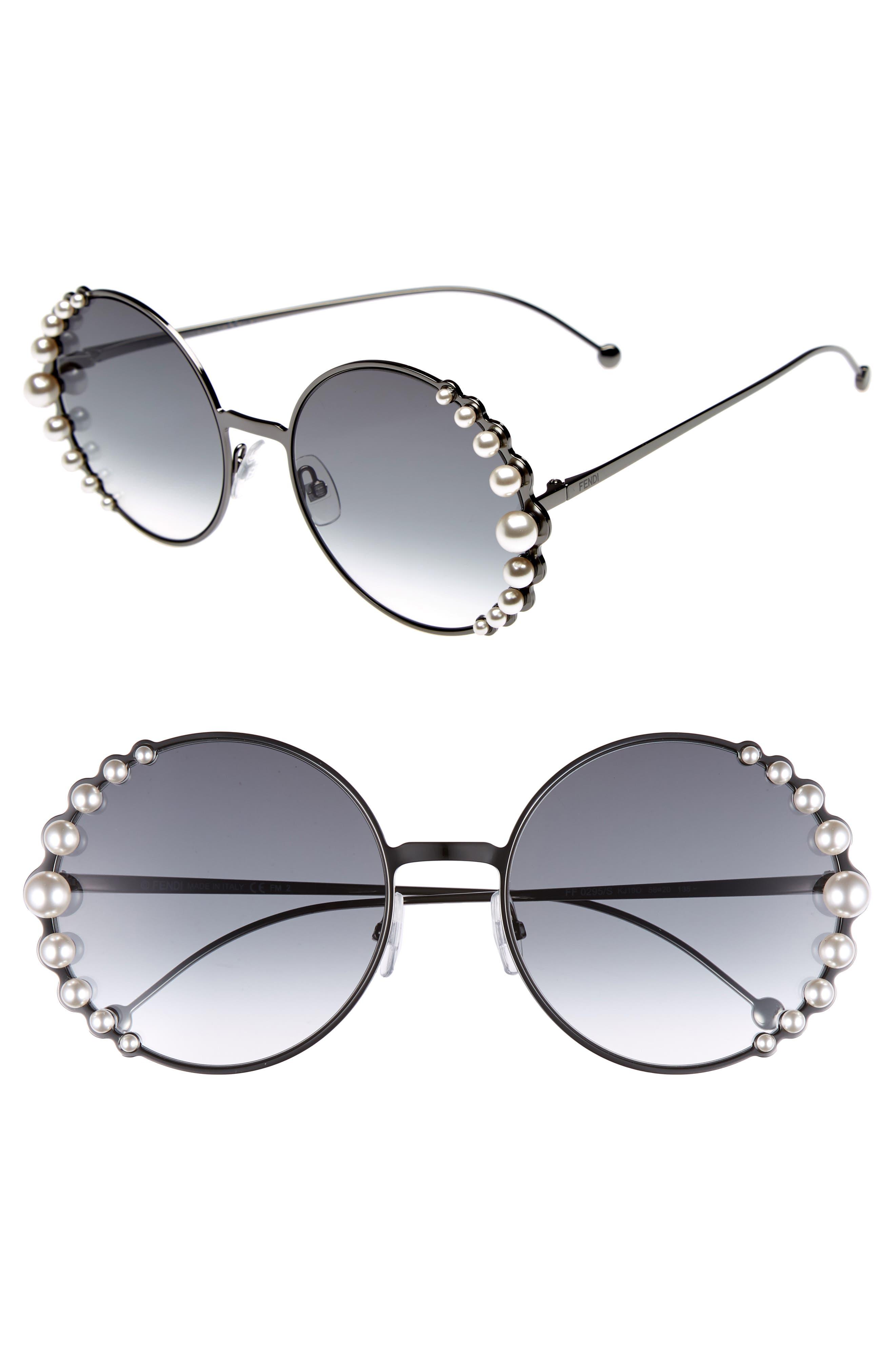58mm Embellished Round Sunglasses,                         Main,                         color, Dark Ruthenium