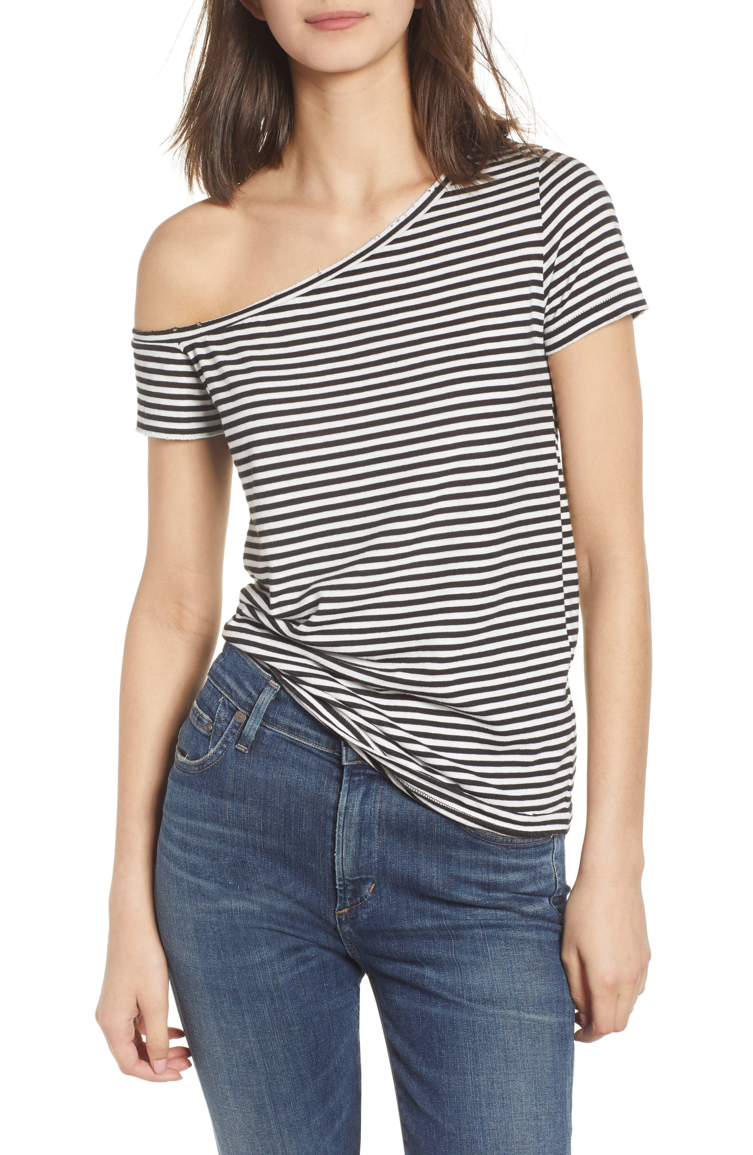 Dorado Stripe One-Shoulder Tee,                             Main thumbnail 1, color,                             Black Cat/ White Stripe