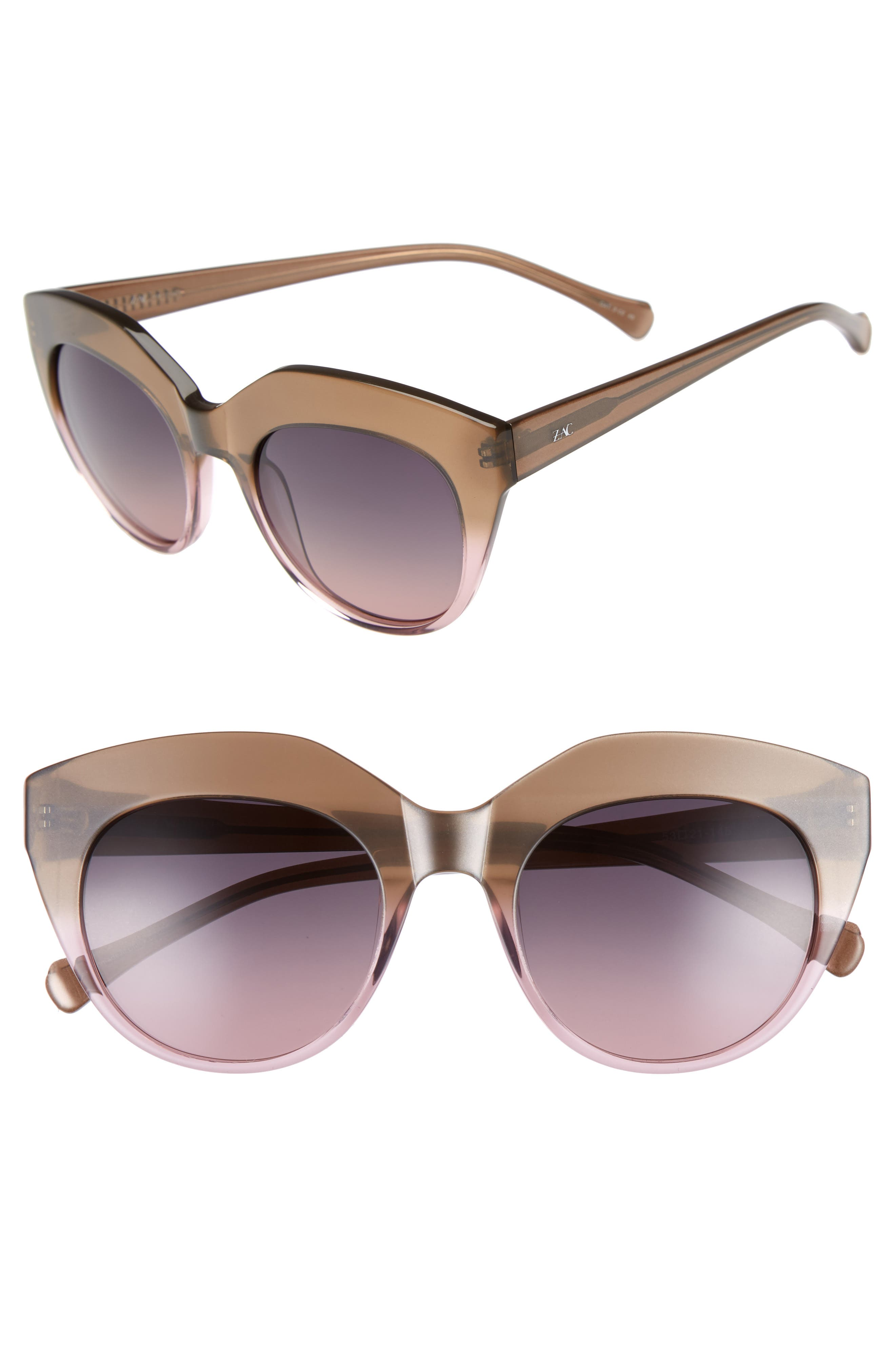 Tamika 53mm Polarized Sunglasses,                             Main thumbnail 1, color,                             Dessert/ Berry