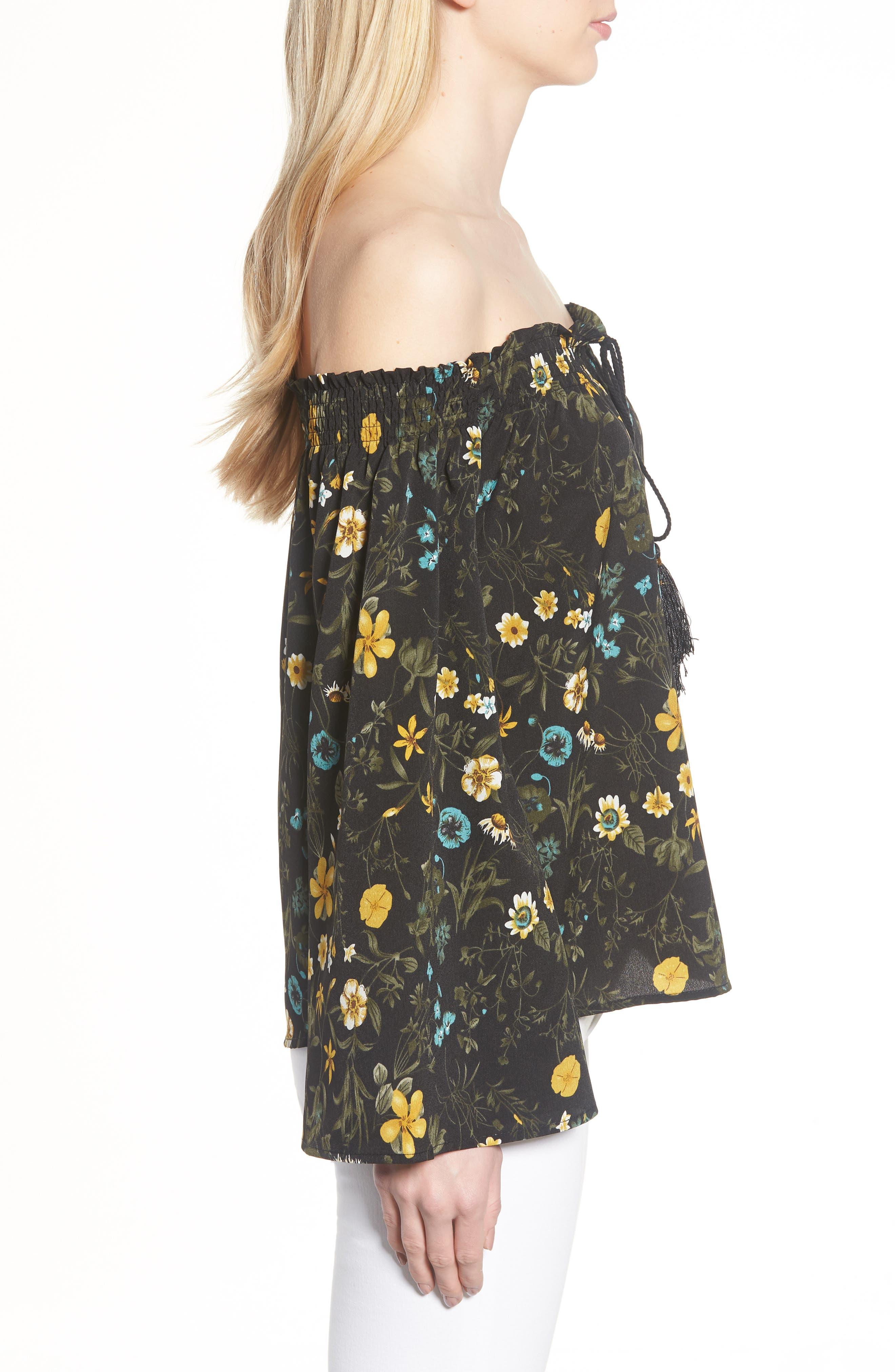Off the Shoulder Tassel Top,                             Alternate thumbnail 3, color,                             Black Floral