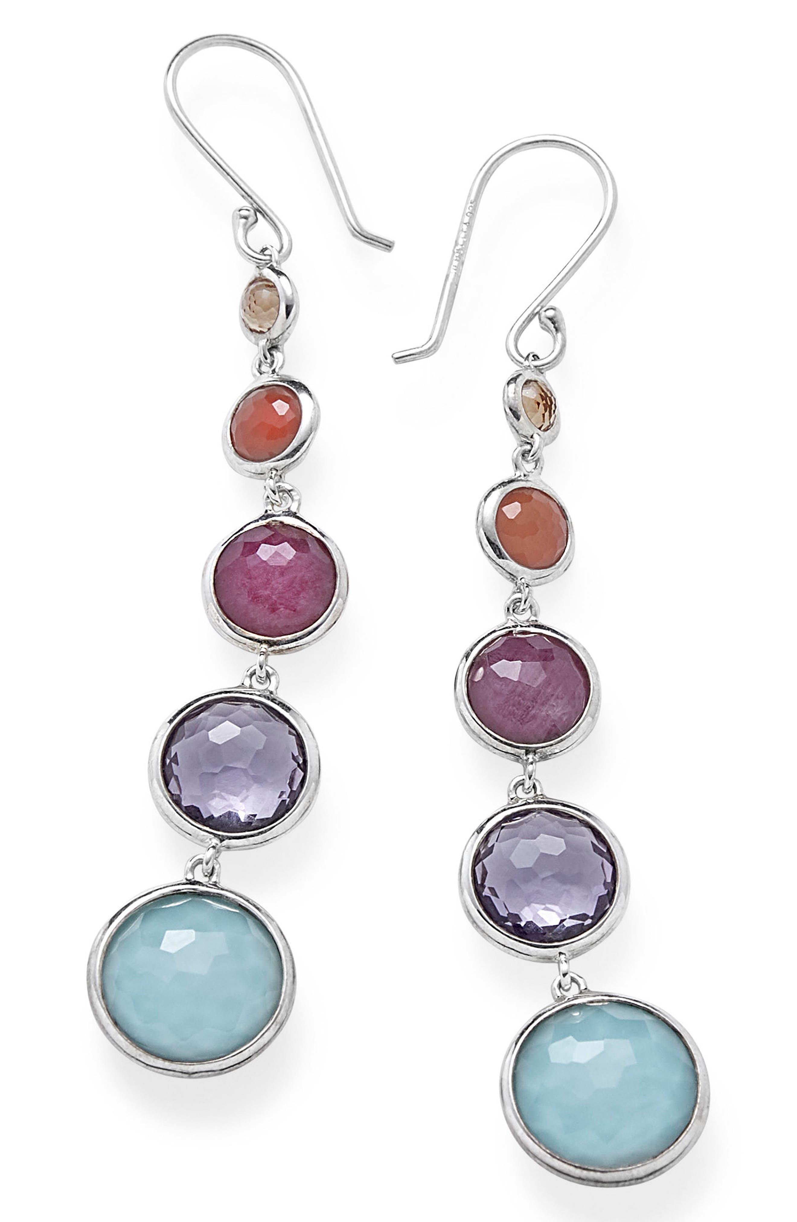 Semiprecious Stone Drop Earrings,                             Main thumbnail 1, color,                             Rainbow
