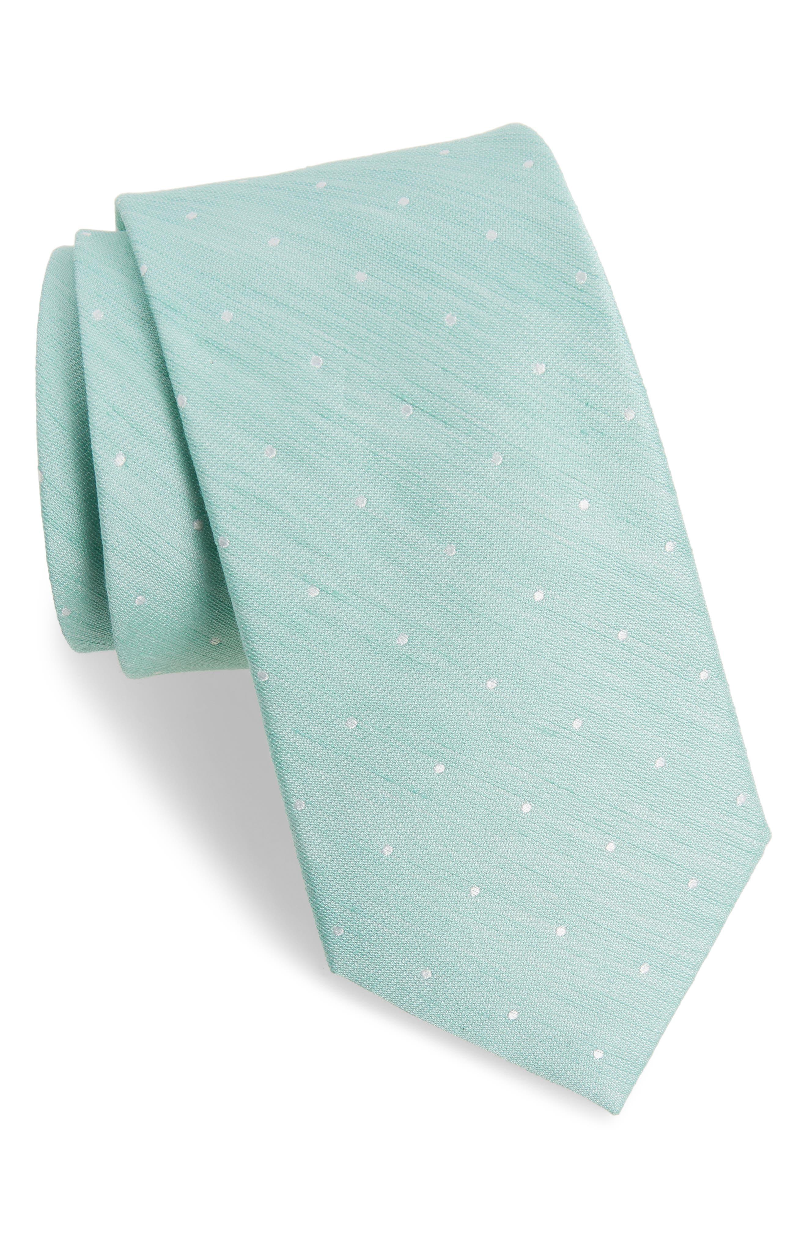 Dot Silk & Linen Tie,                         Main,                         color, Spearmint